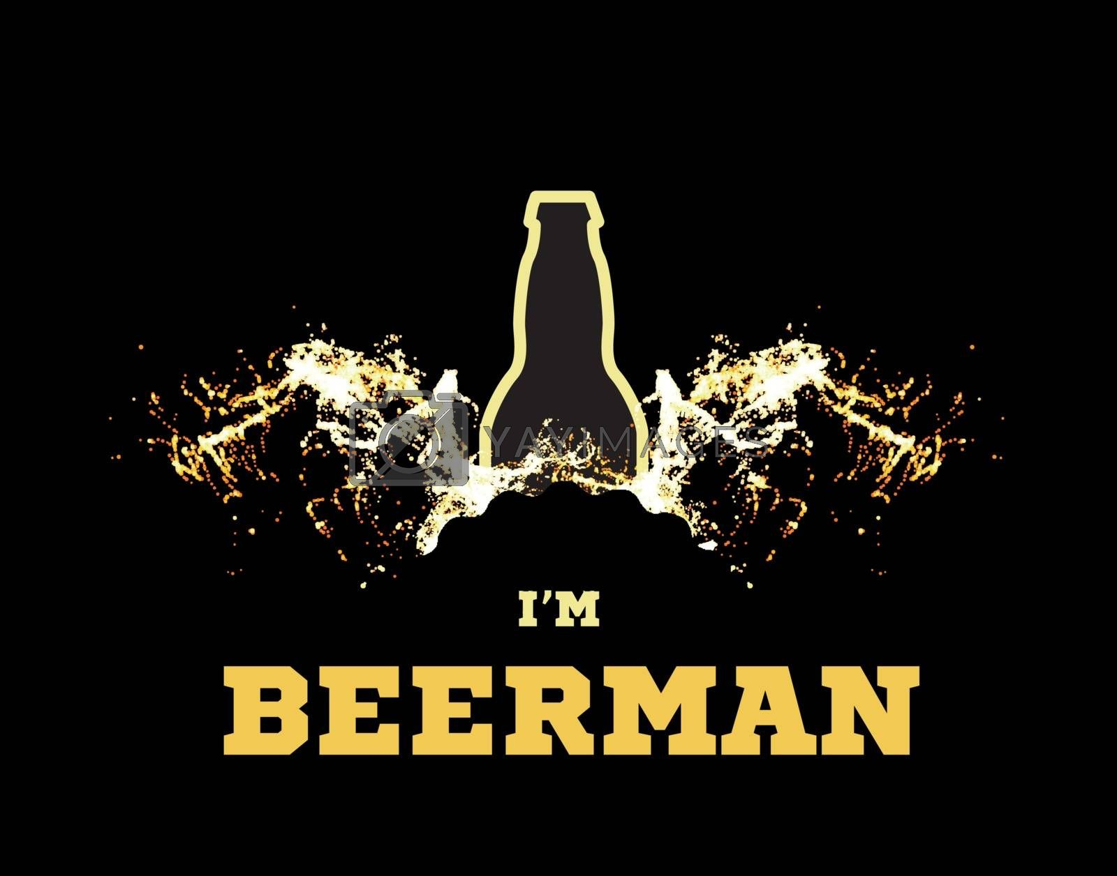 Vector illustration of a beerman with beer wings in the form of splashes and a silhouette of a bottle on black background