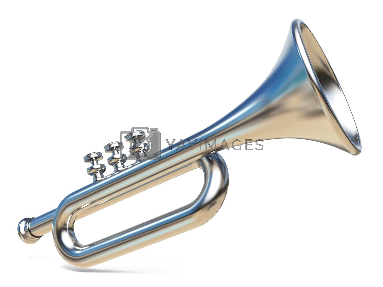 Simple silver trumpet 3D by djmilic