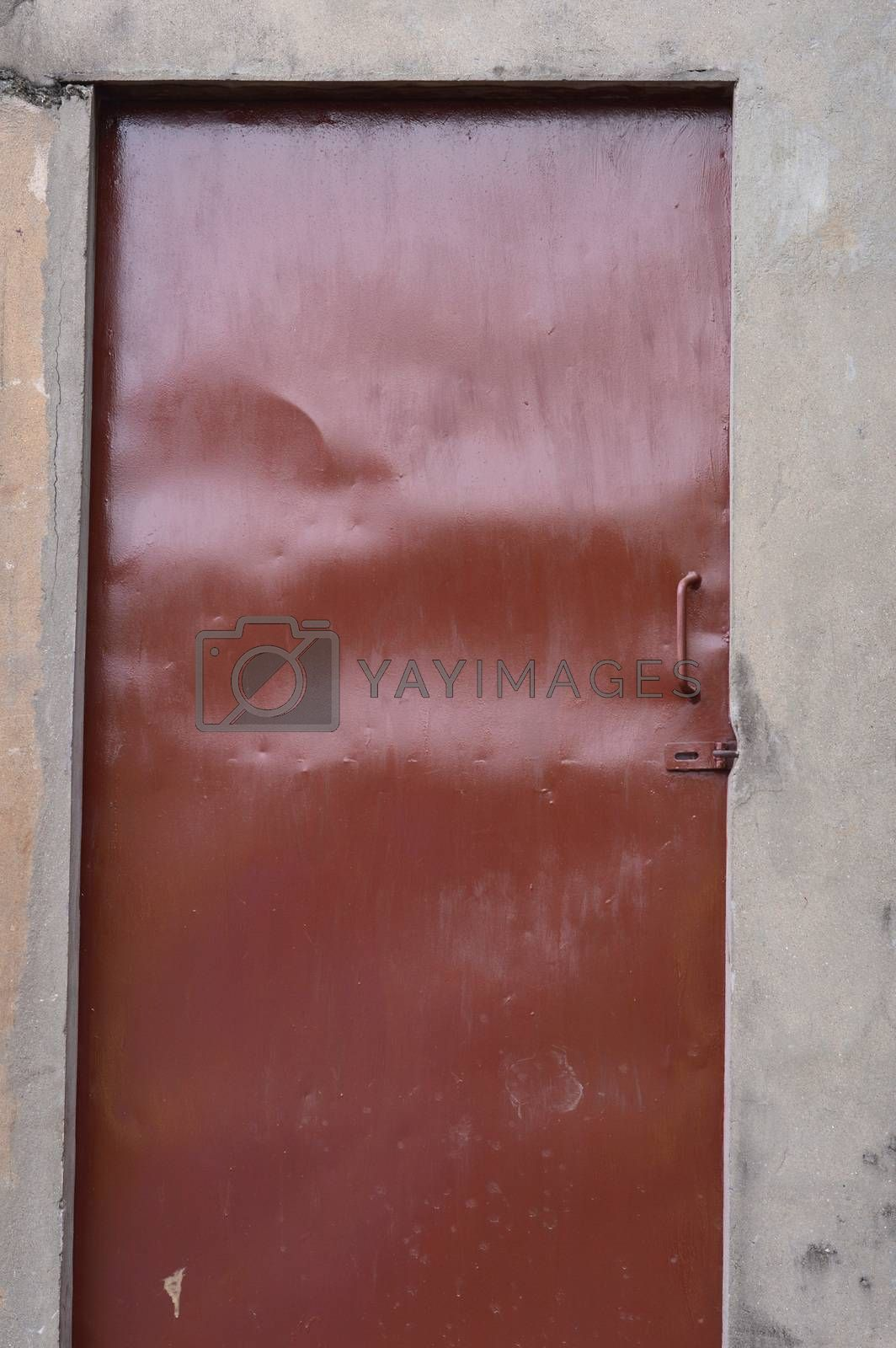 old brown iron door