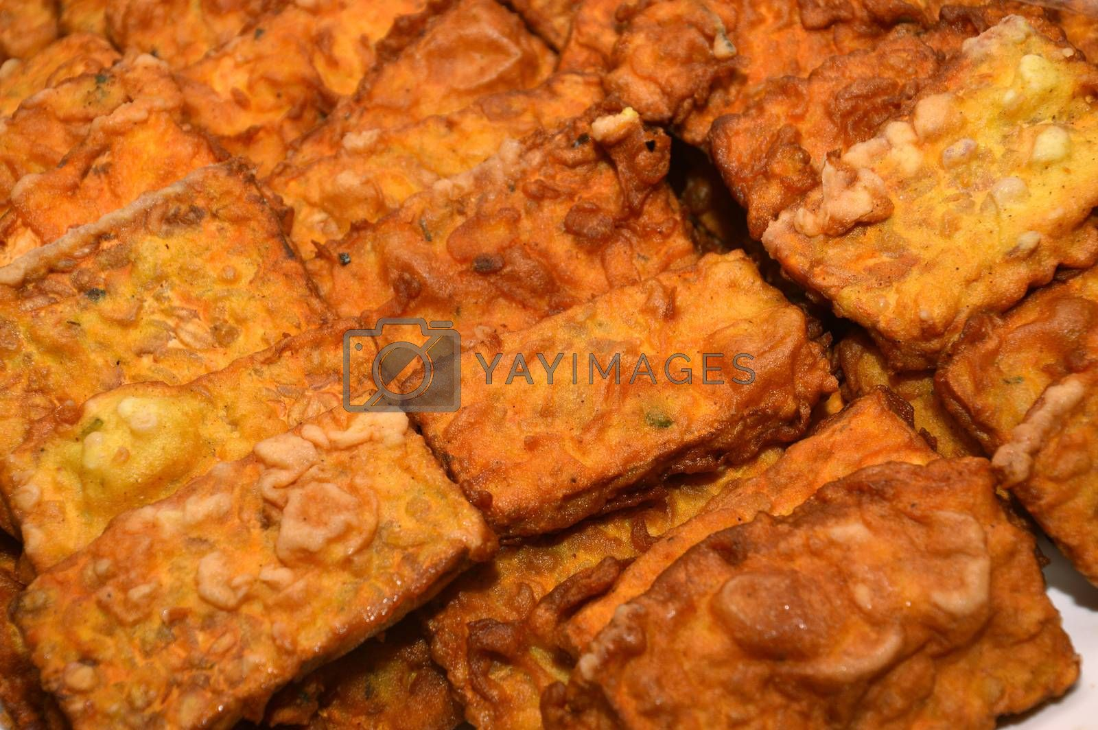fried tempe, typical snack of Indonesians with the raw material soybeans