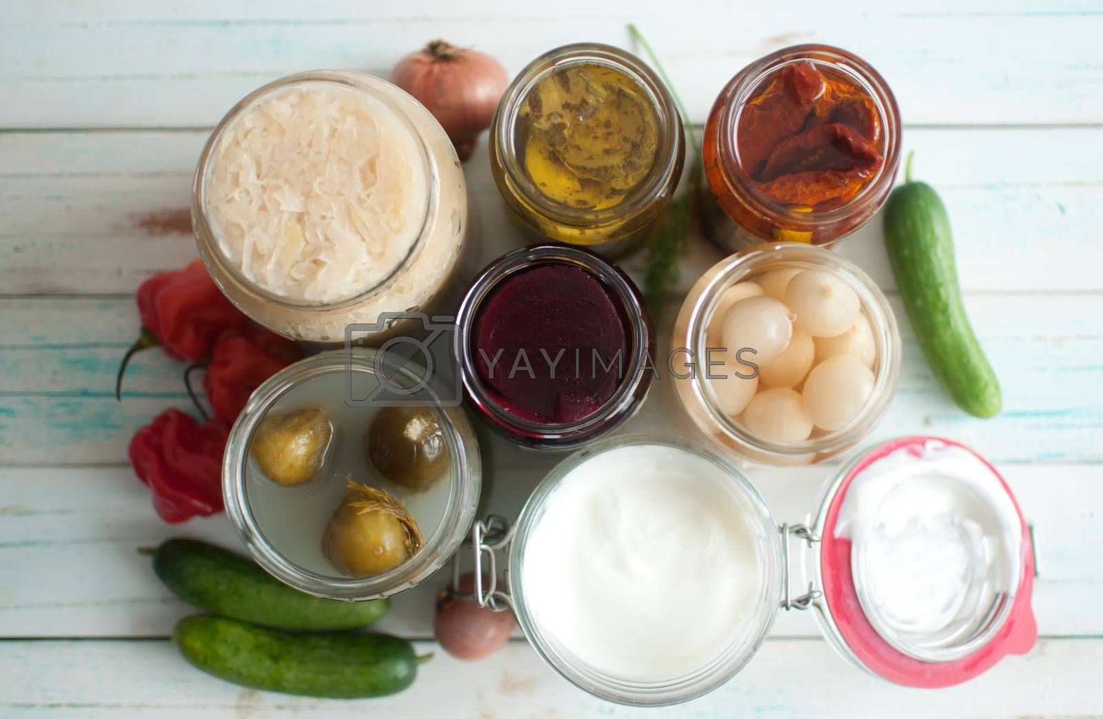 Royalty free image of Collection of naturally fermented foods by unikpix