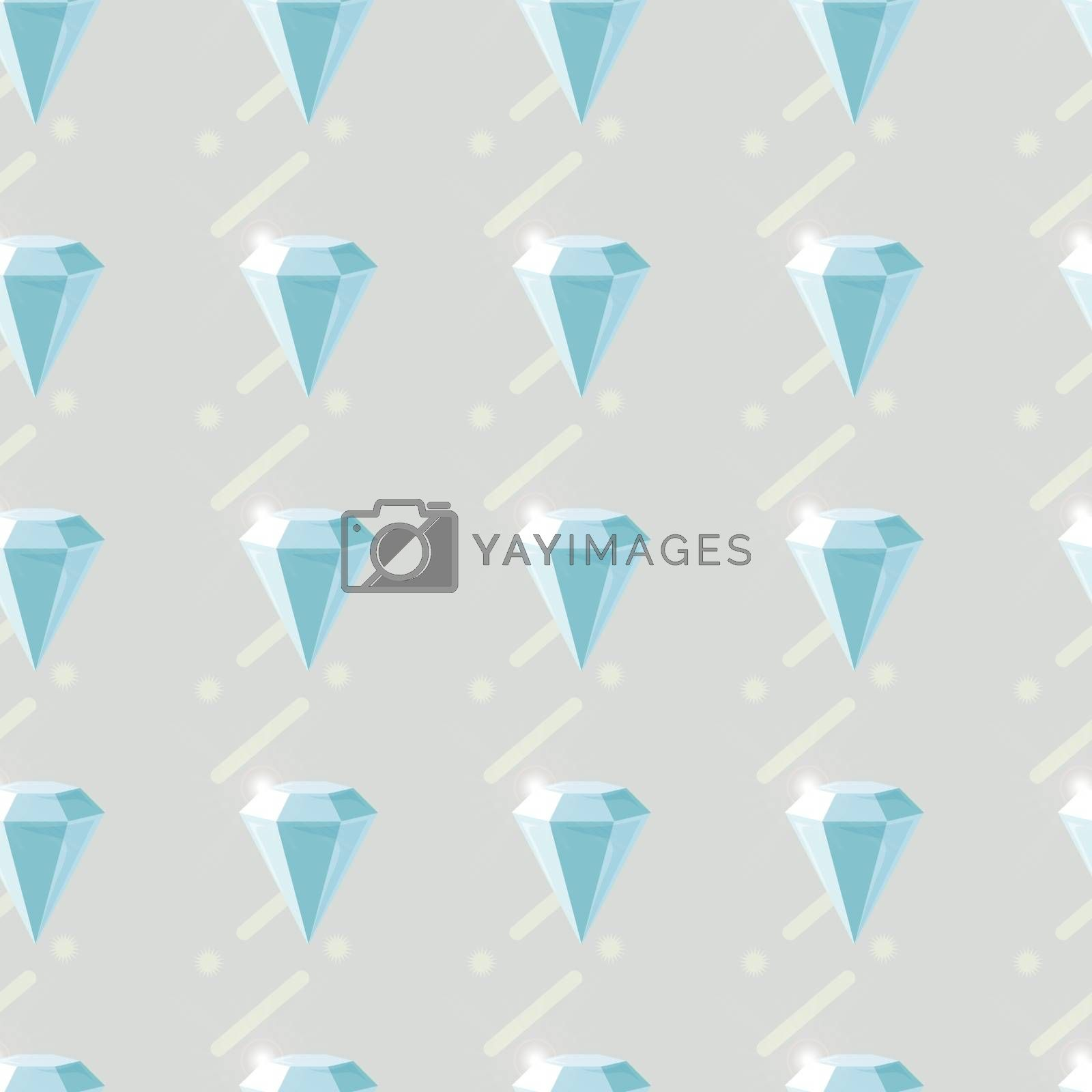 Vector seamless pattern with diamonds. Fashion background with crystal 10 eps