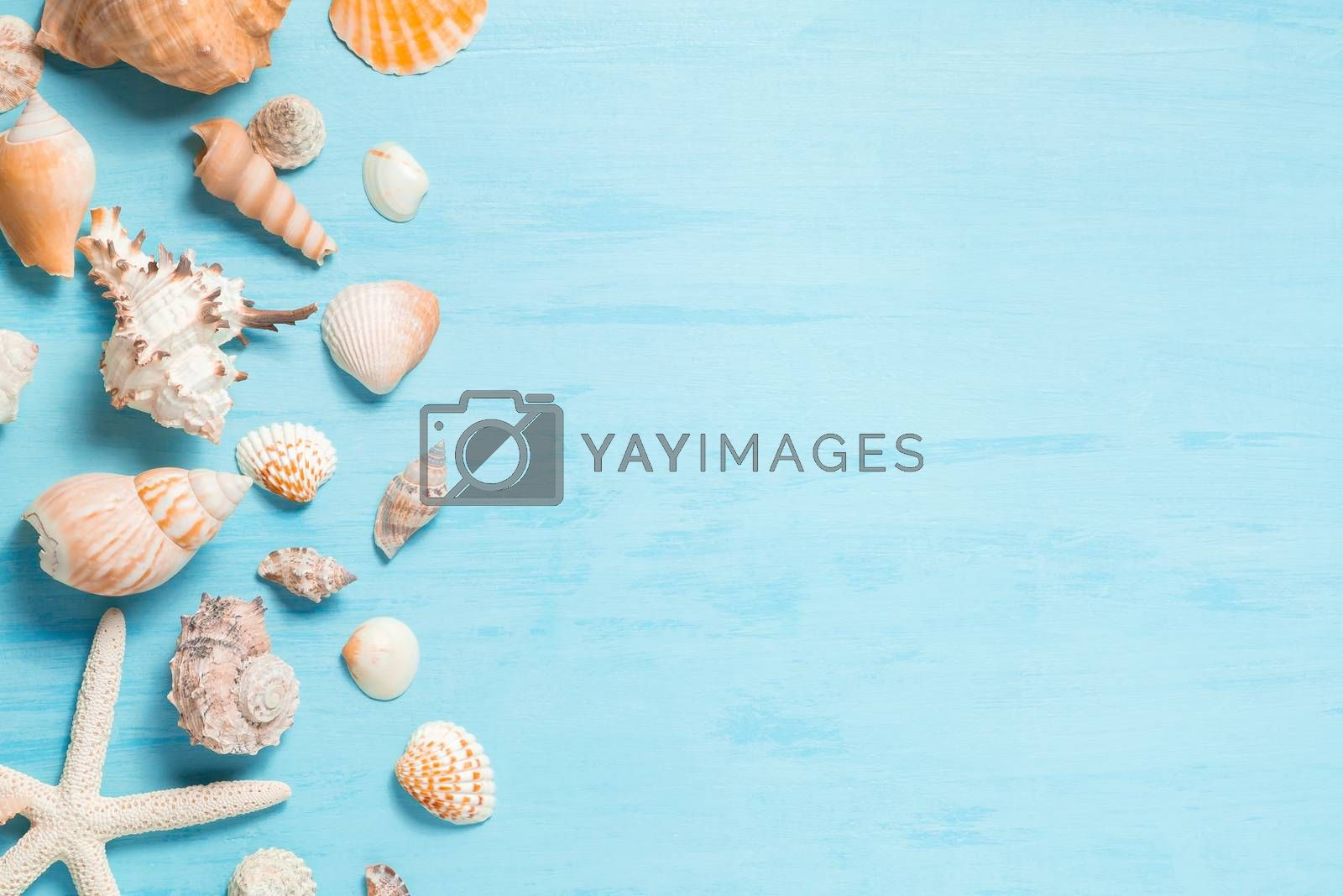Blue sea background with copy space and seashell border, summer holiday and vacation concept by galsand