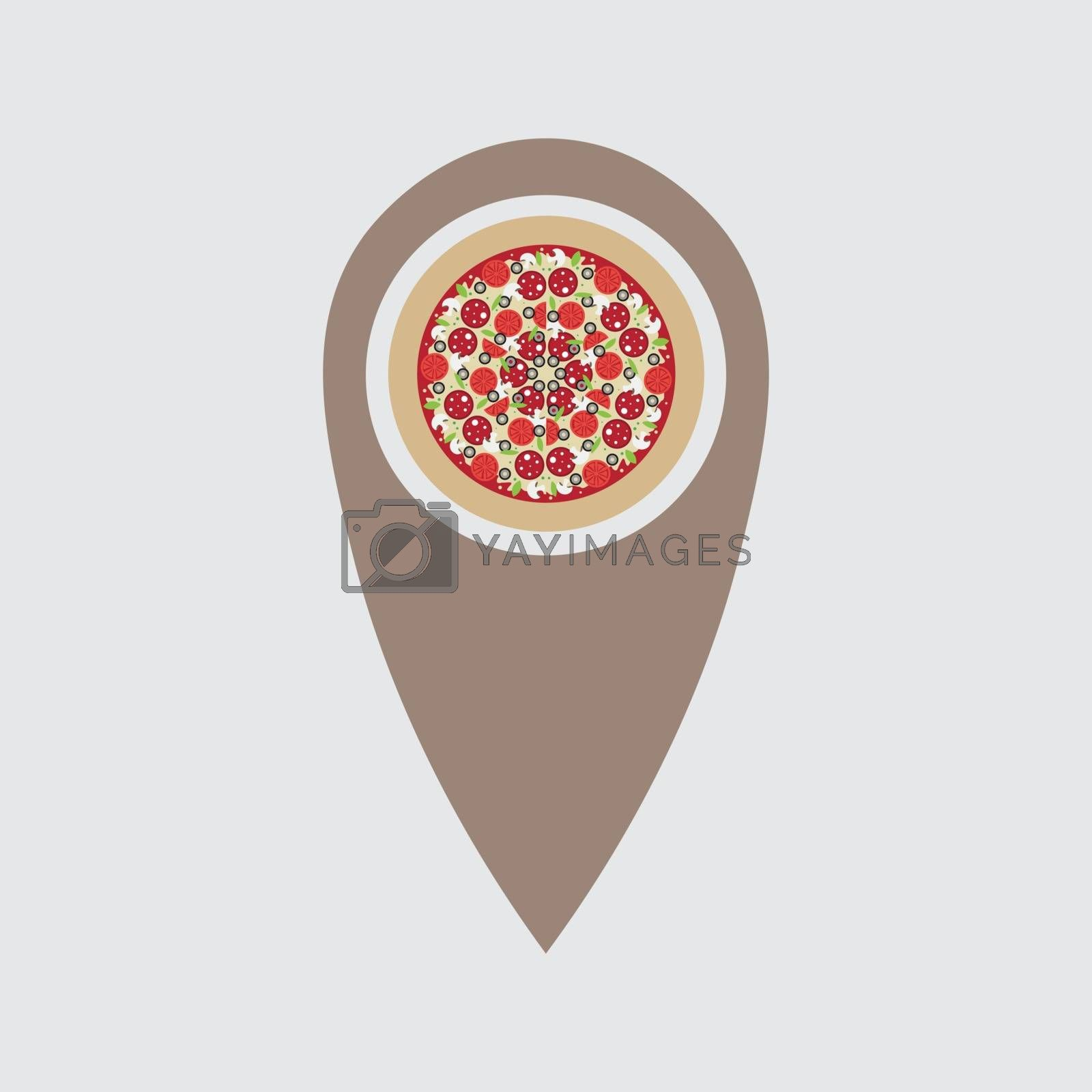 Pizza location.. pizza symbol pointing at a map. Italian food restaurant sign. by Musjaka0