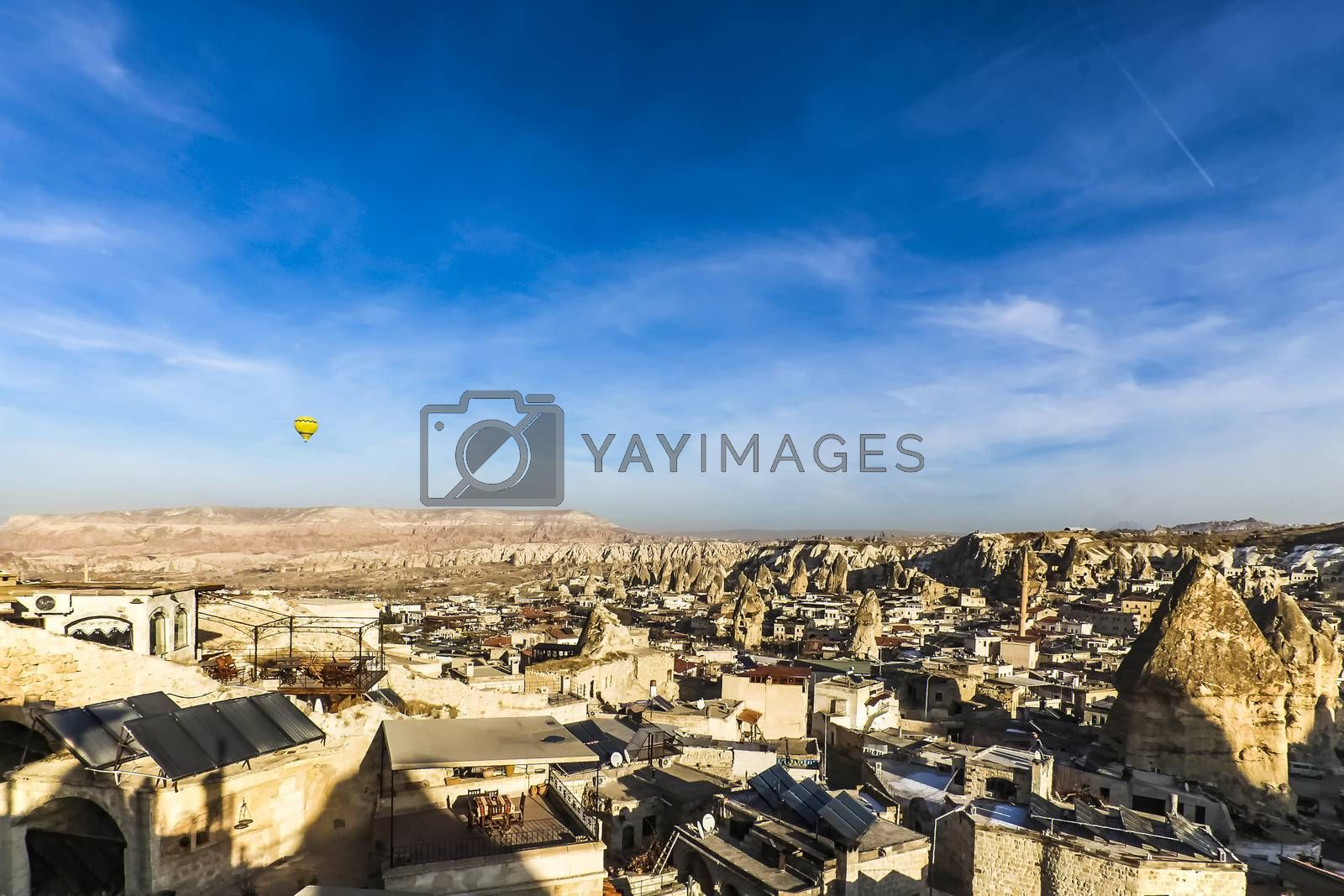 Landscape of houses and fairy chimneys at Cappadocia by juliachan