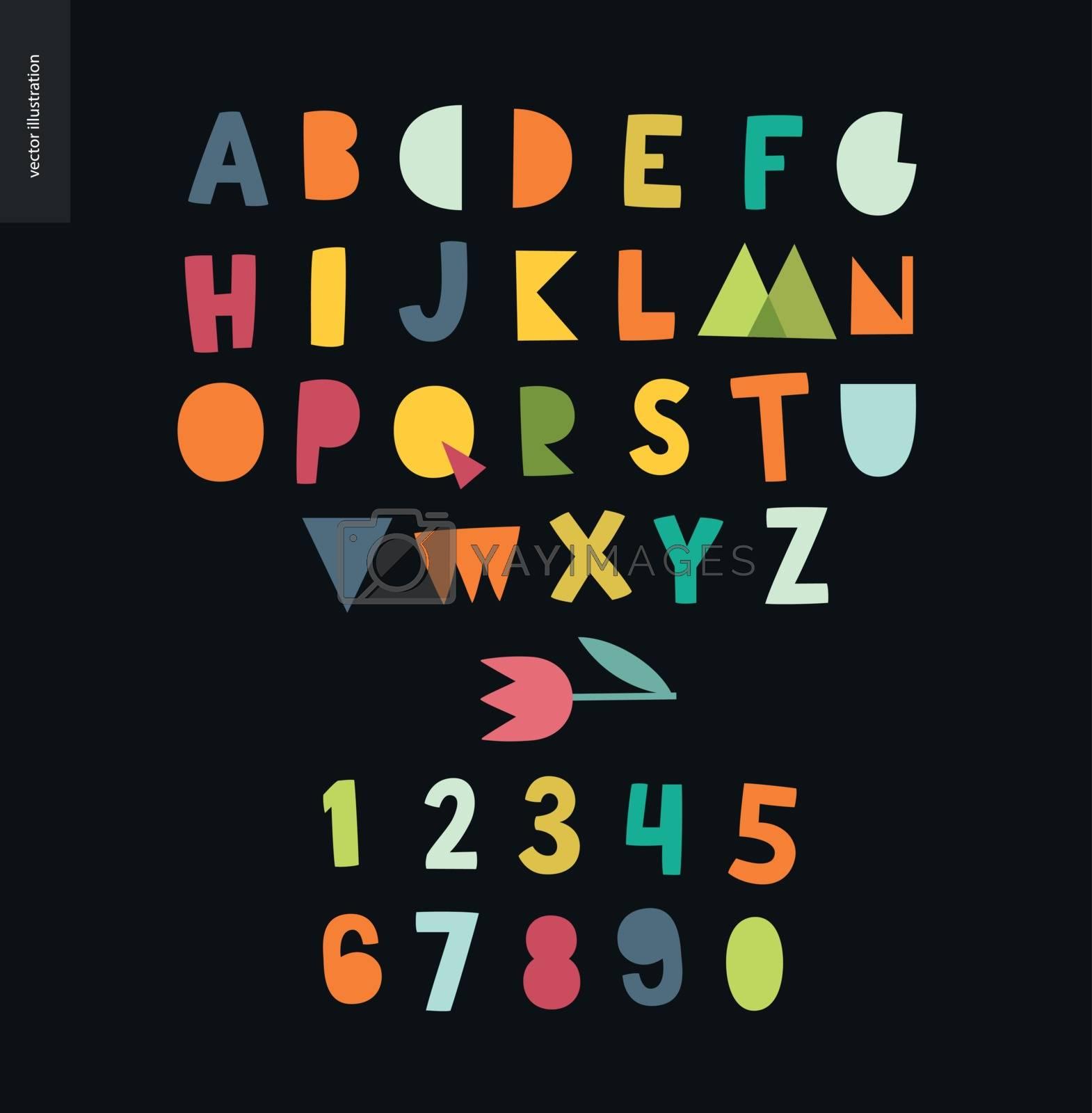 Kids flat alphabet set by grivina