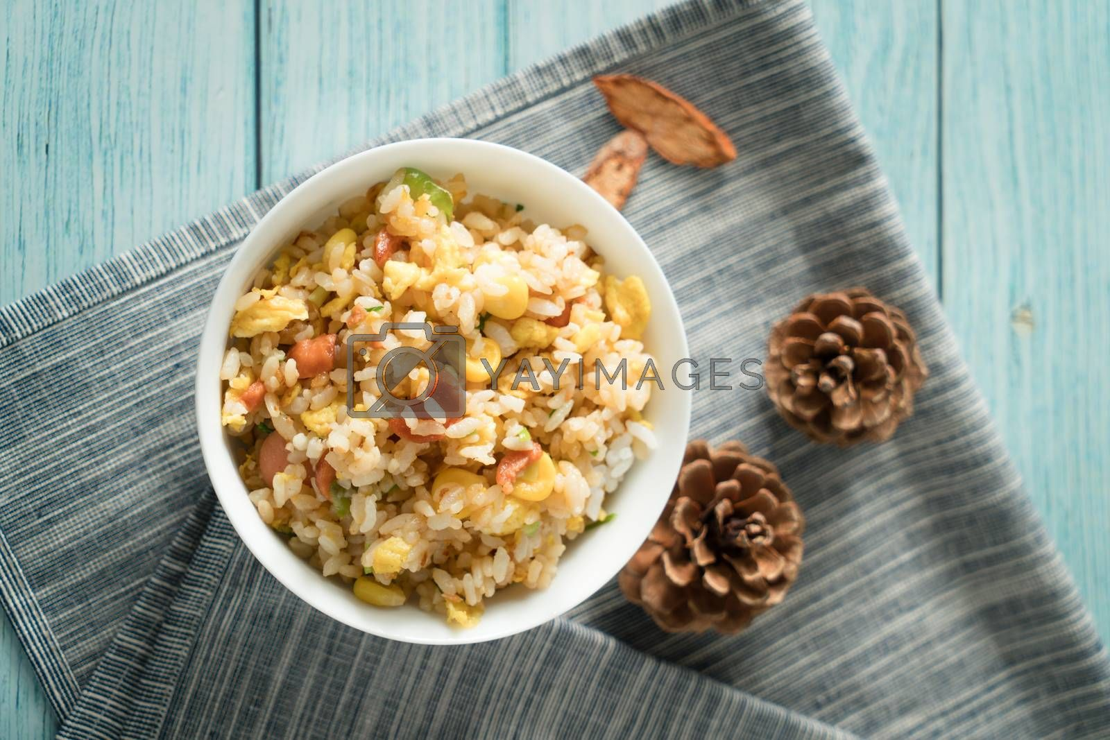 Chinese fried rice with blue wood background by vinkfan