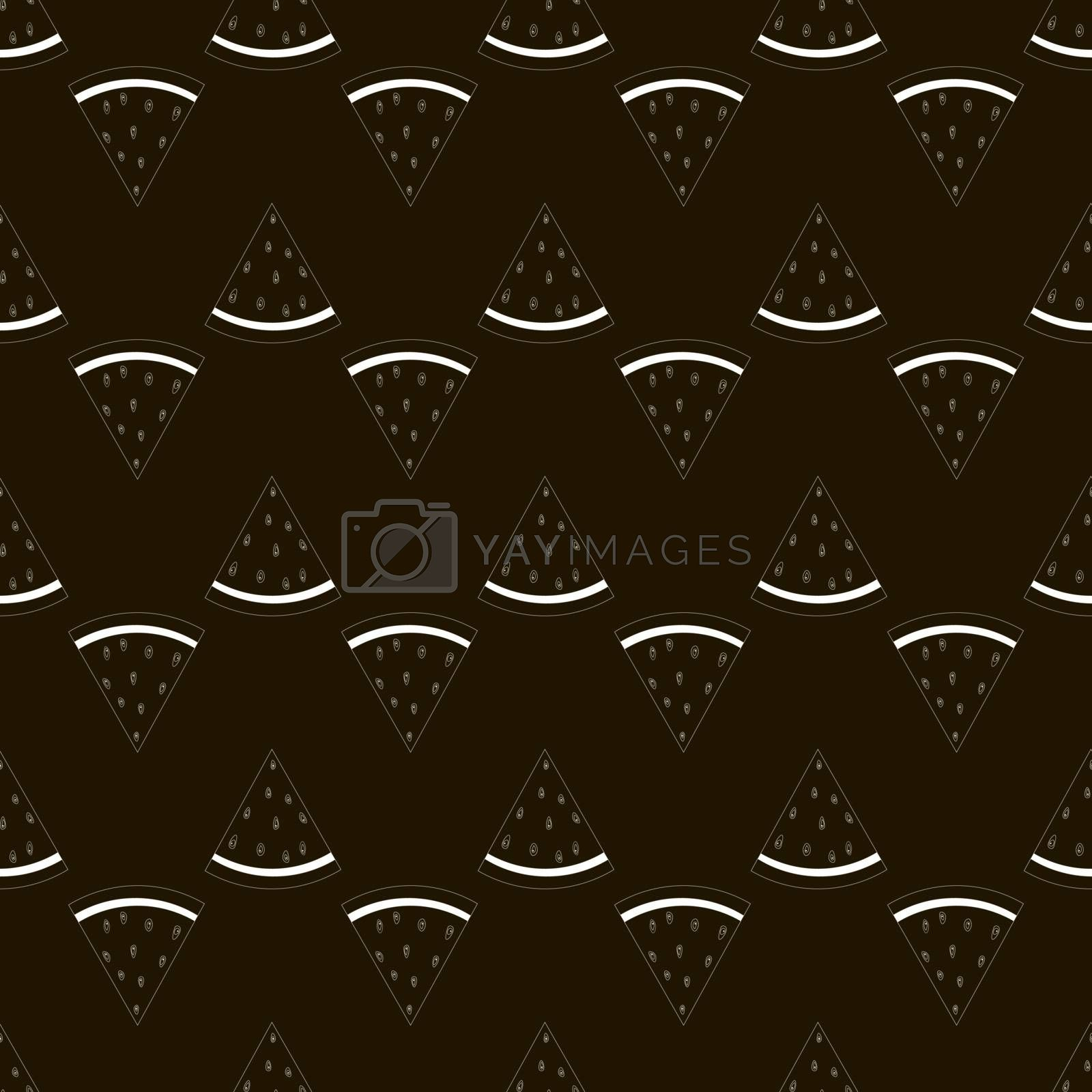 Outline Seamless background with watermelon slices. Vector illustration. by Musjaka0
