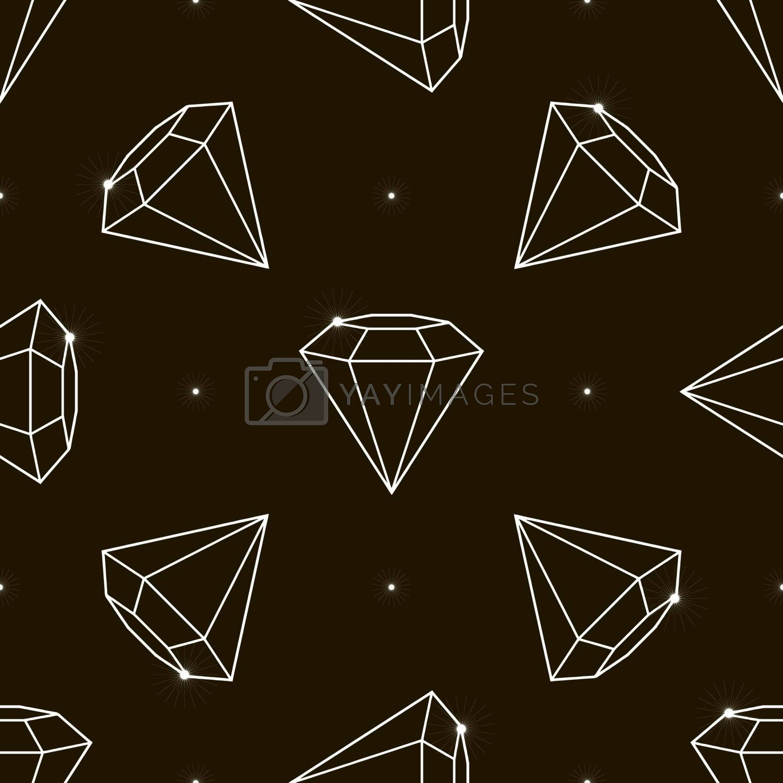 Outline Vector seamless pattern with diamonds. Fashion background with crystal 10 eps