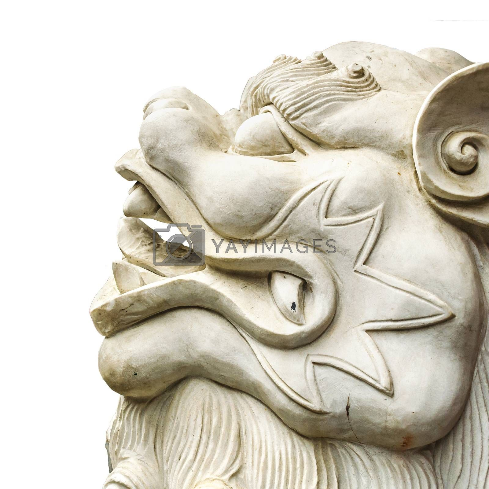 Side View Mythological Lion Sculpture Isolated by DanFLCreative