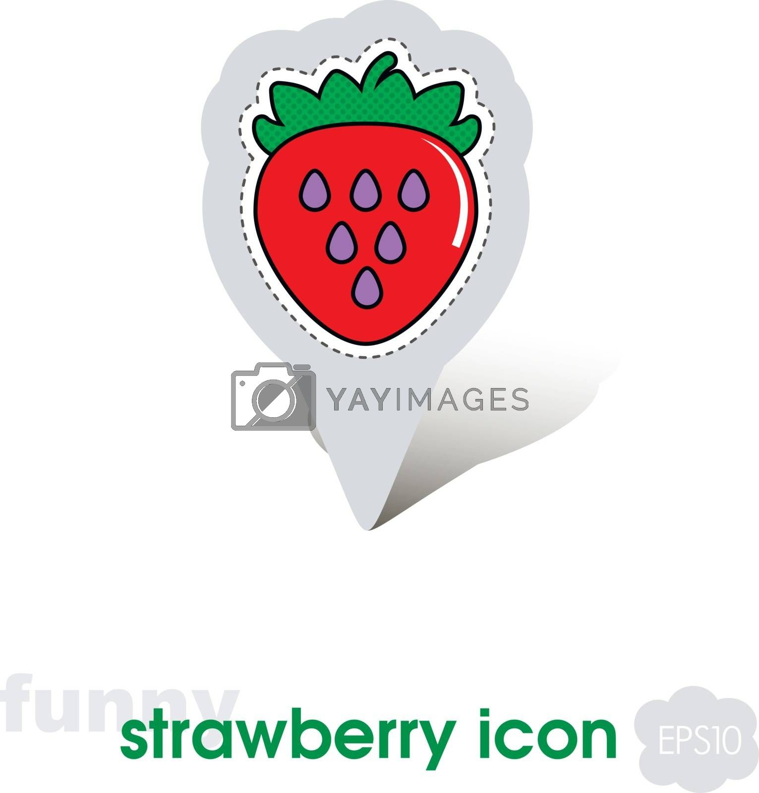 Strawberry pin map icon. Strawberry fruit sign by nosik
