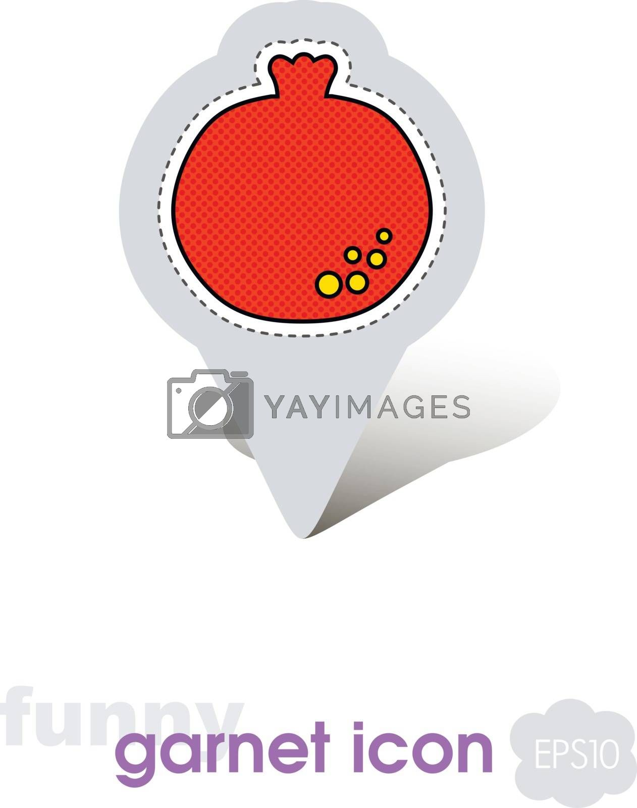 Pomegranate pin map icon. Garnet fruit sign by nosik