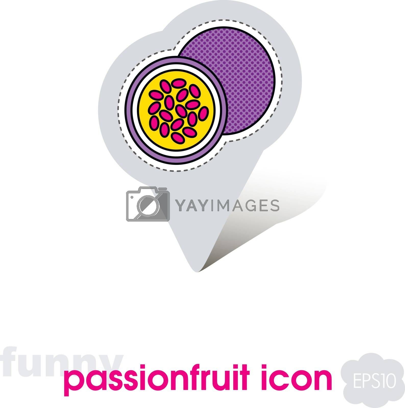 Passionfruit pin map icon. Passionfruit fruit by nosik