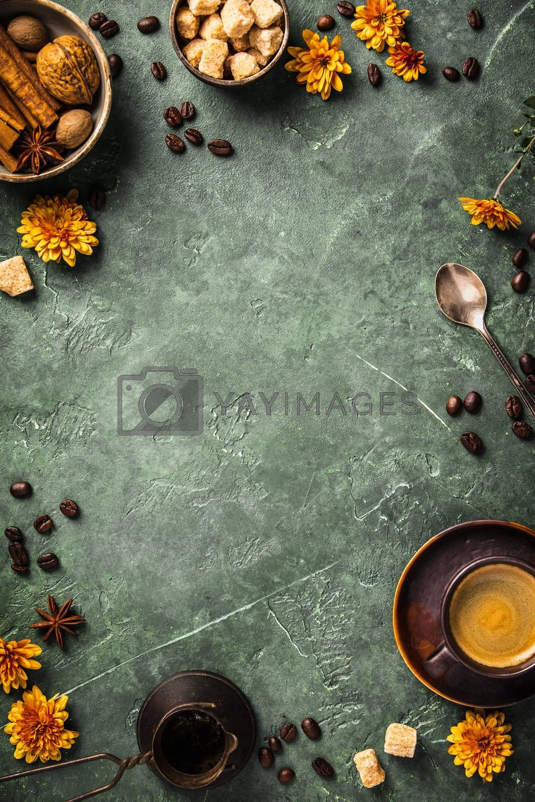 Coffee, flowers and spices on old green background by klenova