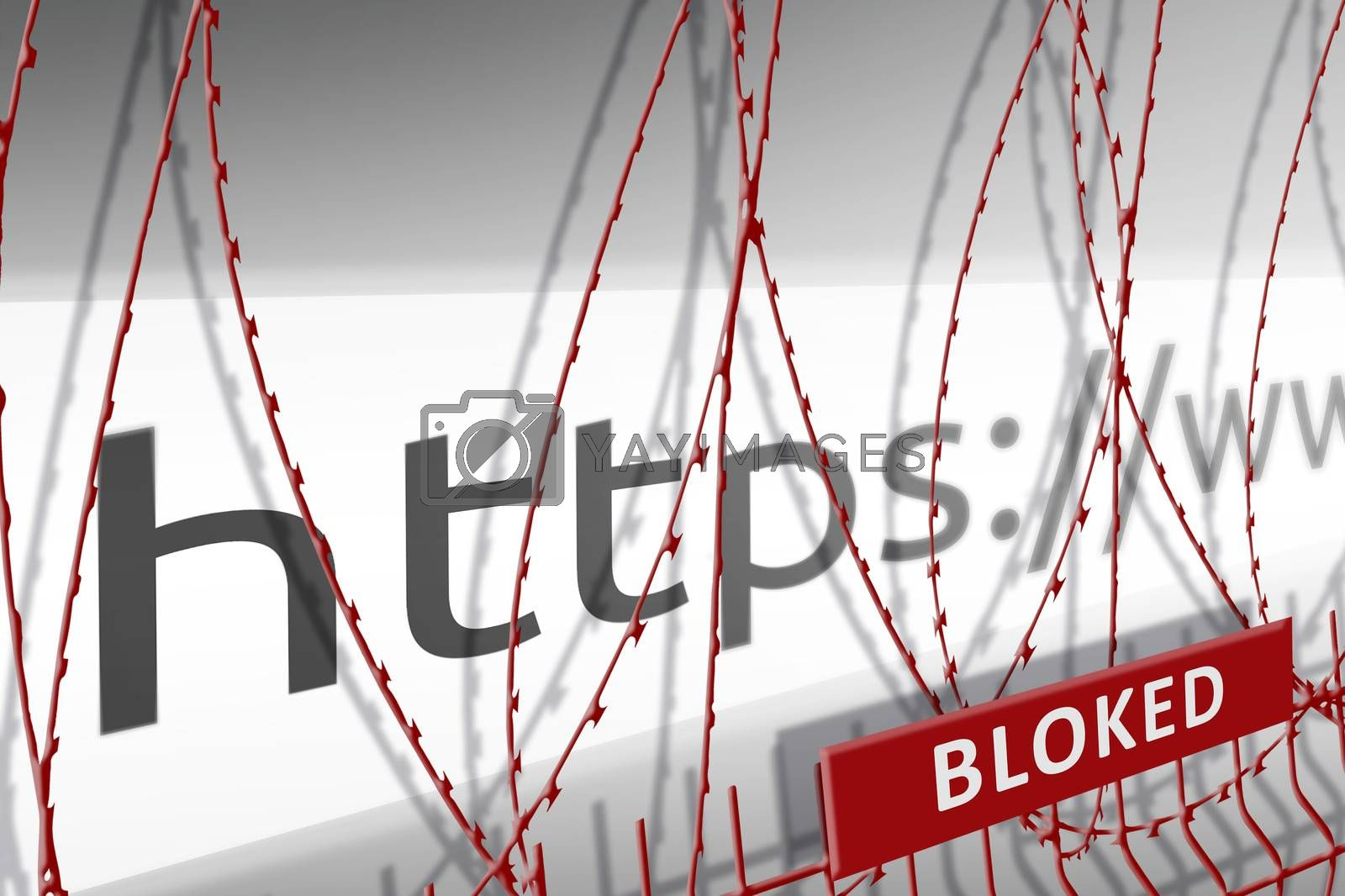 Image of the address bar of the website is blocking the fence with barbed wire - blocked Internet concept by galsand