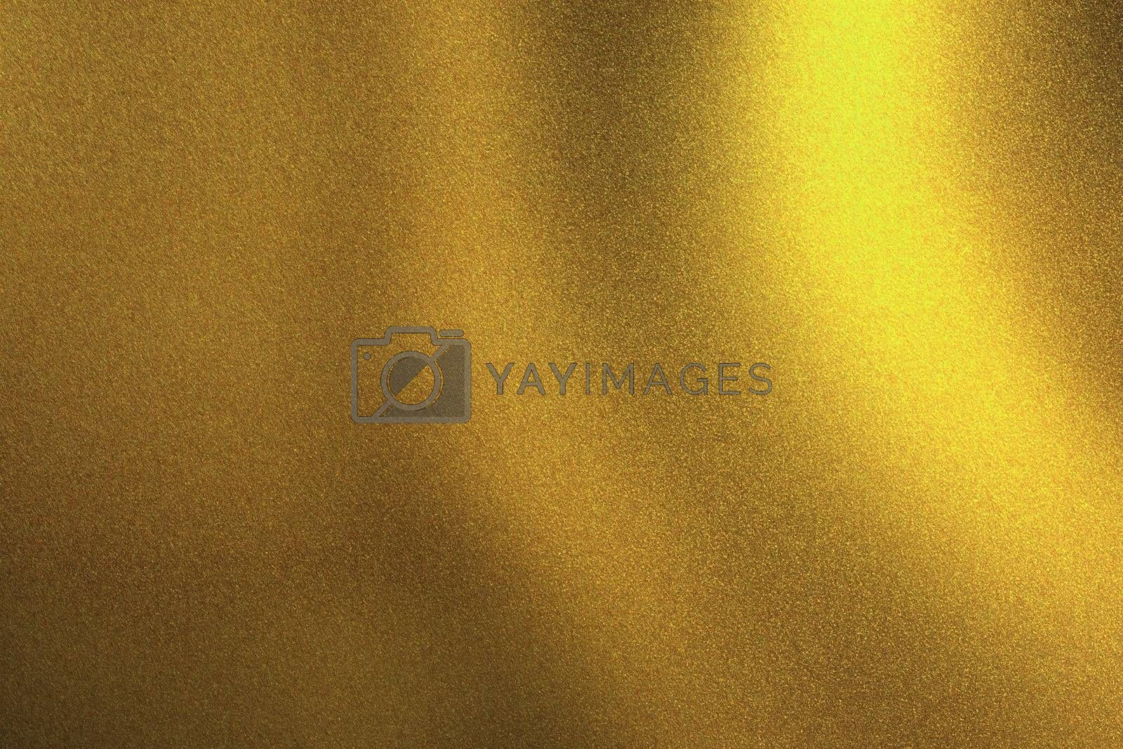 Light shining on golden metallic wall in dark room, abstract texture background by mouu007