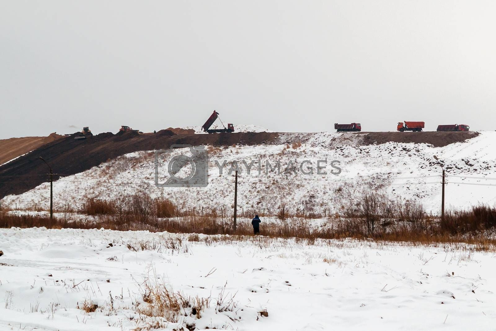 equipment works in the process of waste disposal and landfill reclamation by galsand
