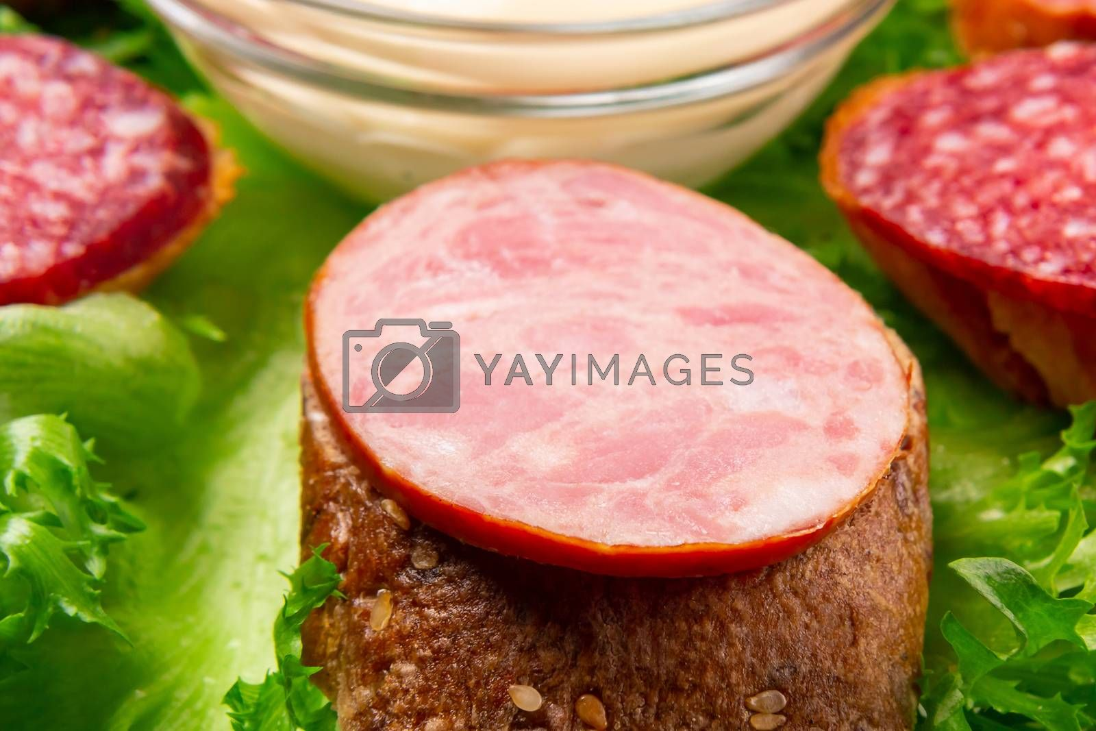 Several sandwiches with sausage and salami and sauce on a plate, close up by galsand