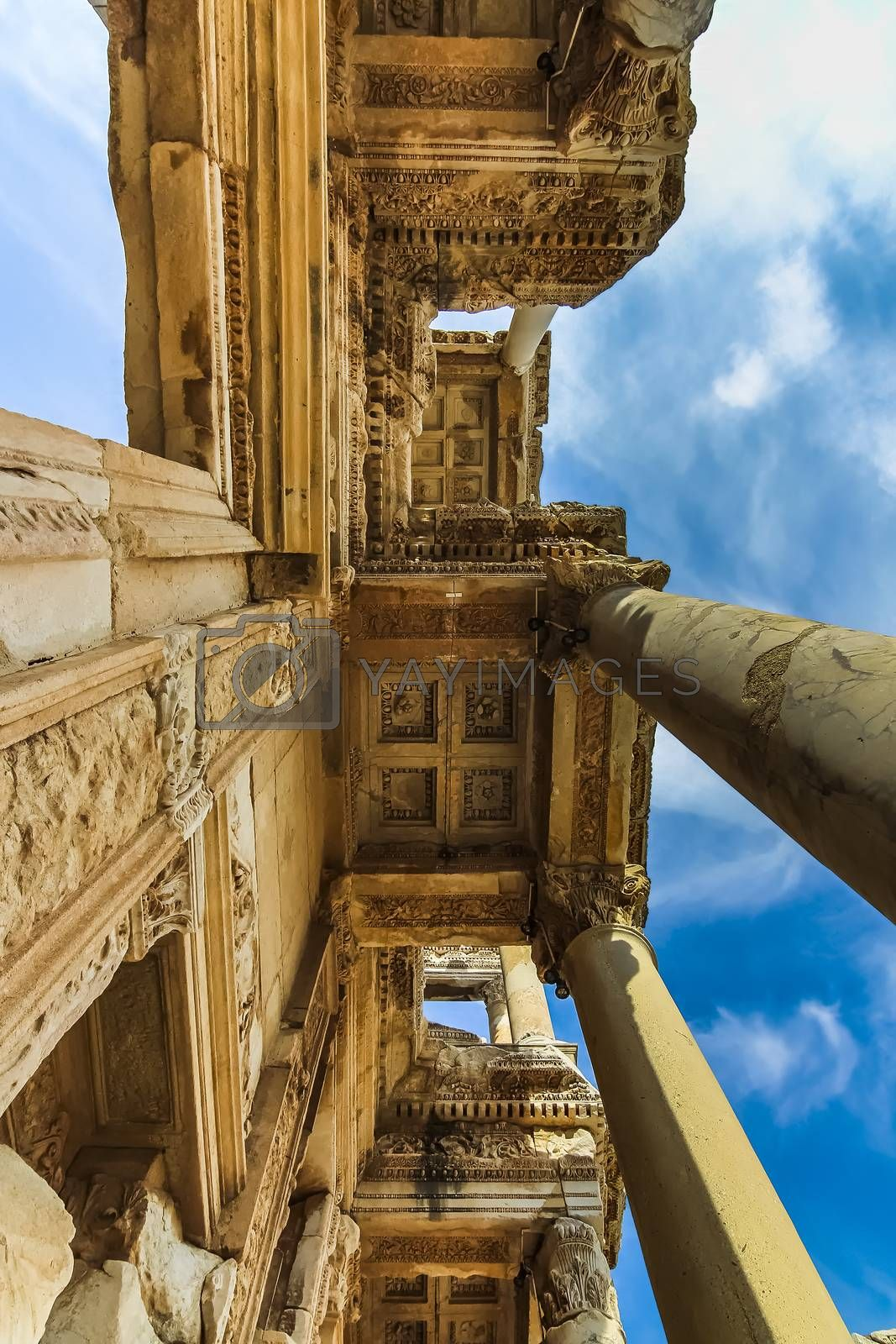 Bottom up view of the facade of Celsus Library at Ephesus