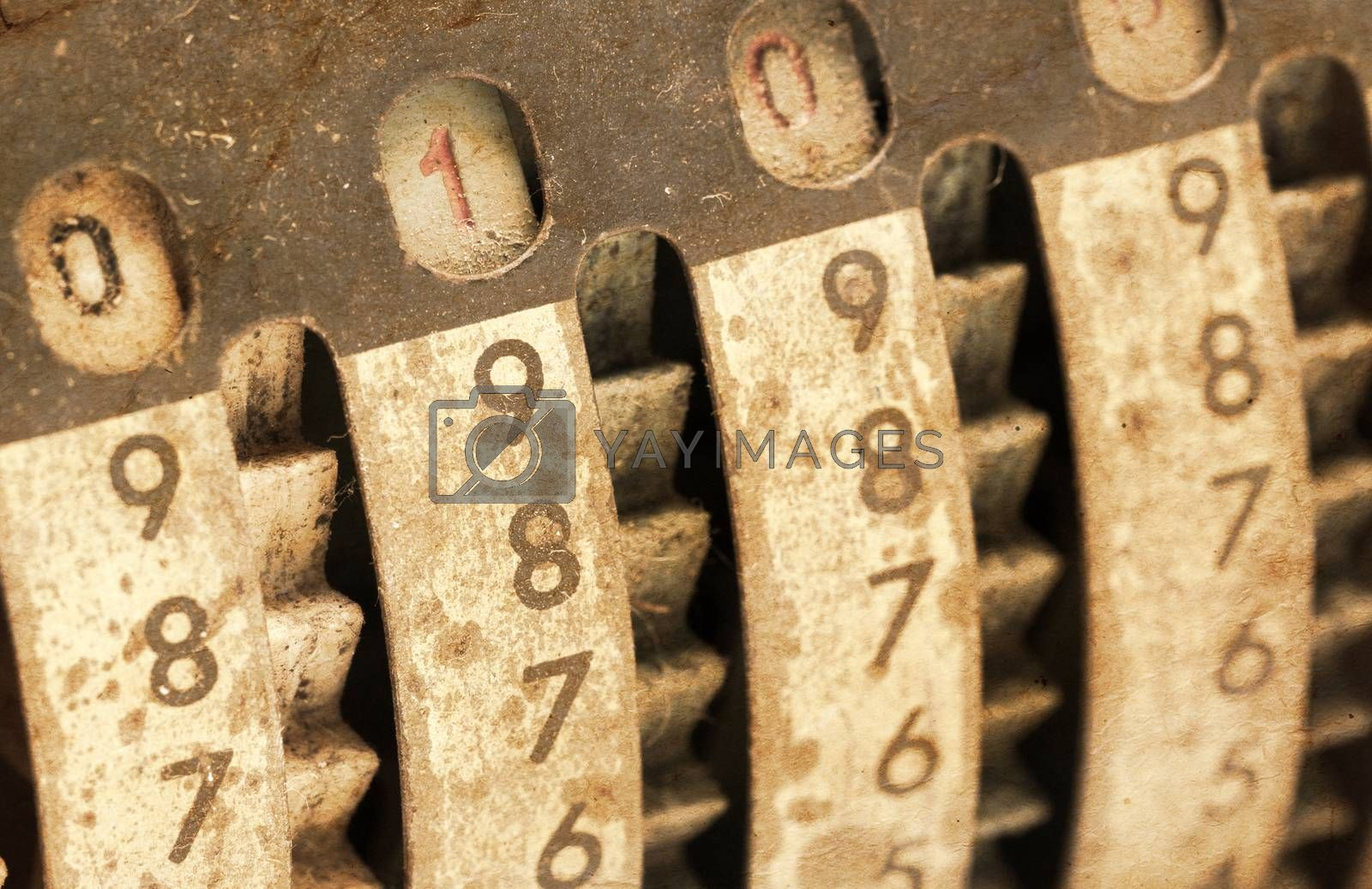 Vintage manual adding machine isolated - 10 by michaklootwijk