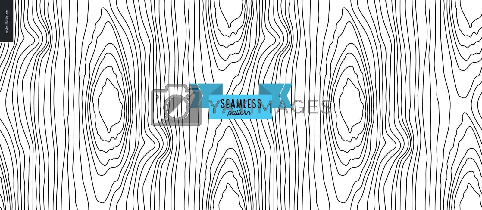 Seamless black and white hand drawn wood pattern by grivina