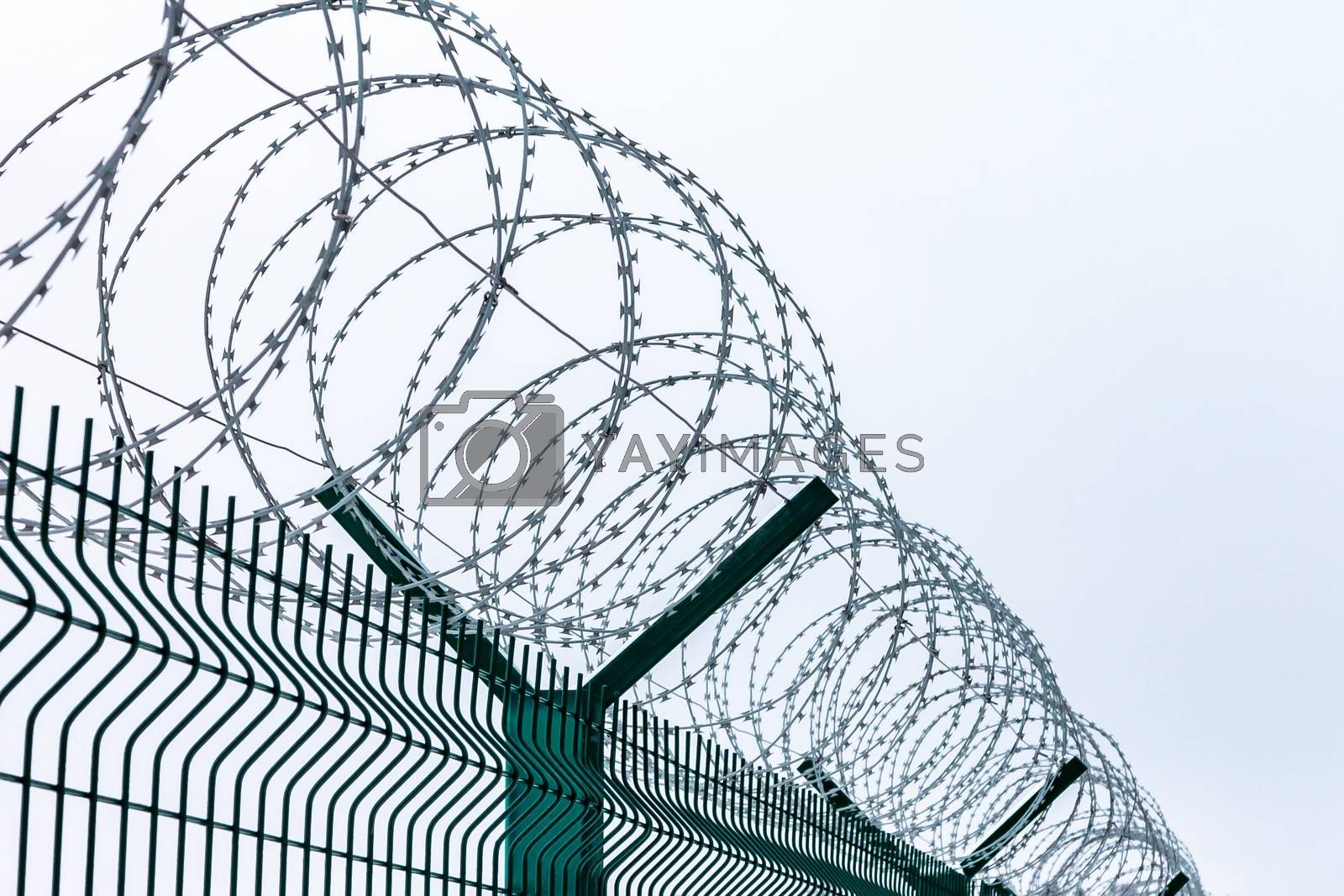 Metal fence with barbed wire on top against the sky by galsand