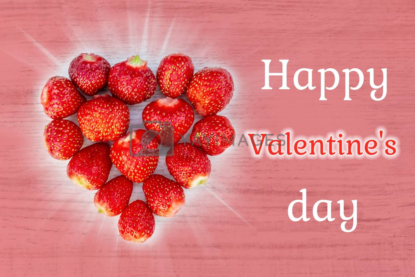 Beautiful card with a greeting on Valentine's Day - heart strawberries on a pink background textures and the words Happy Valentine's Day by galsand