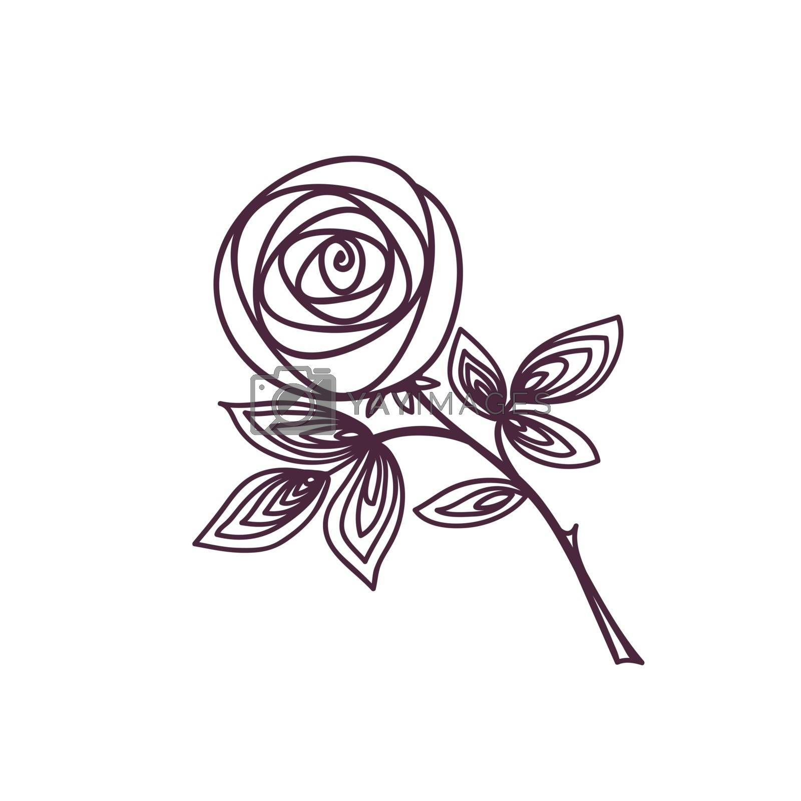 Rose. Stylized flower symbol. Outline hand drawing icon by ESSL