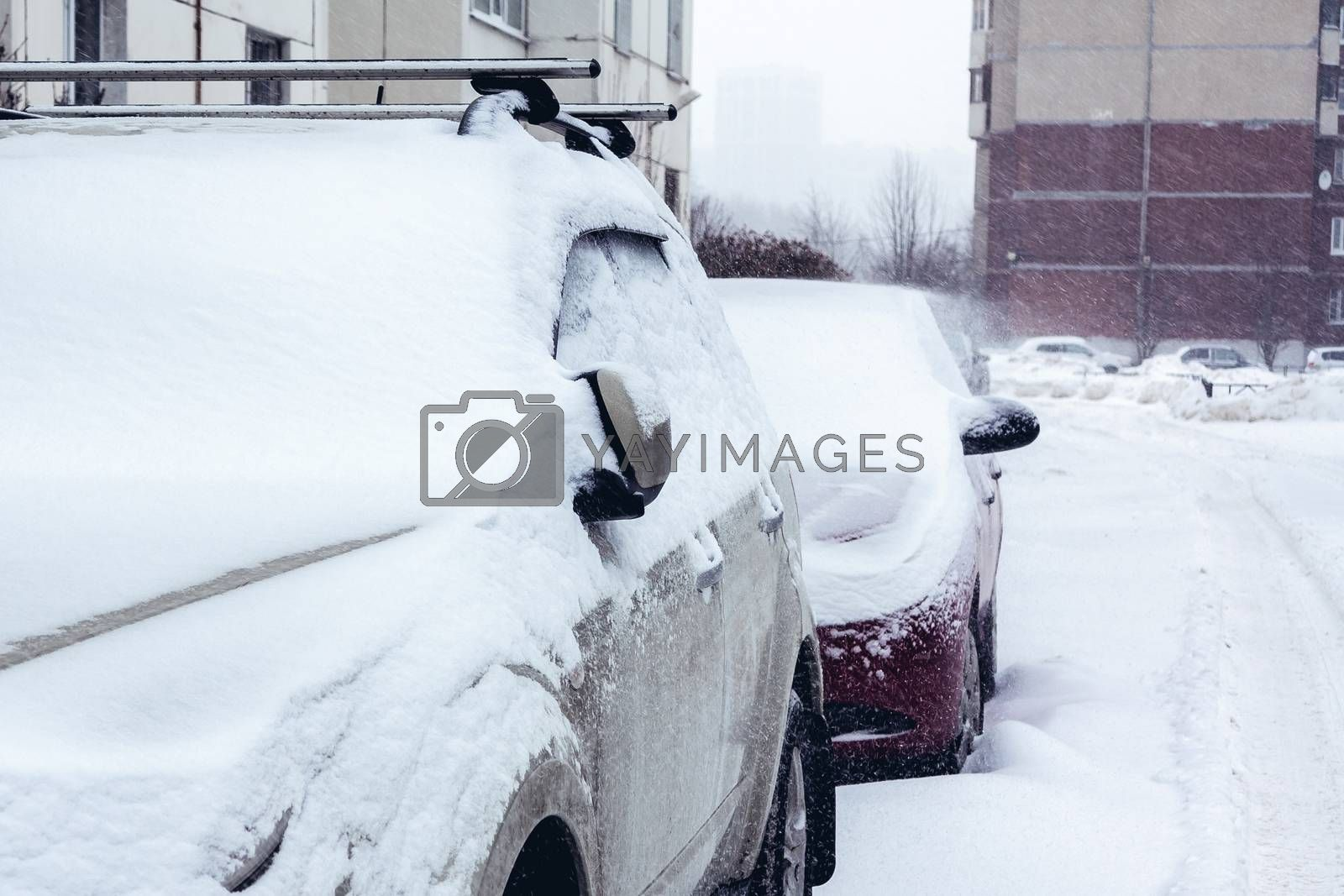 Snowfall in the city, cars overwhelmed with snow by galsand