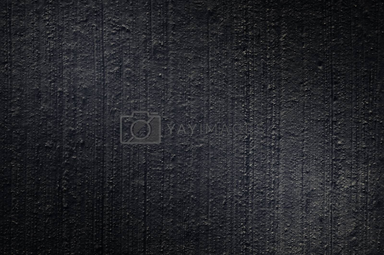 Black paint plastered concrete wall, texture, background by galsand