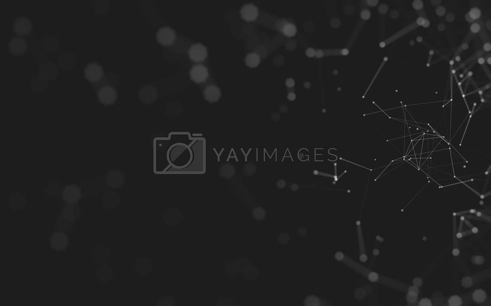 Abstract polygonal space low poly dark background, 3d rendering by Teerawit Tj-rabbit