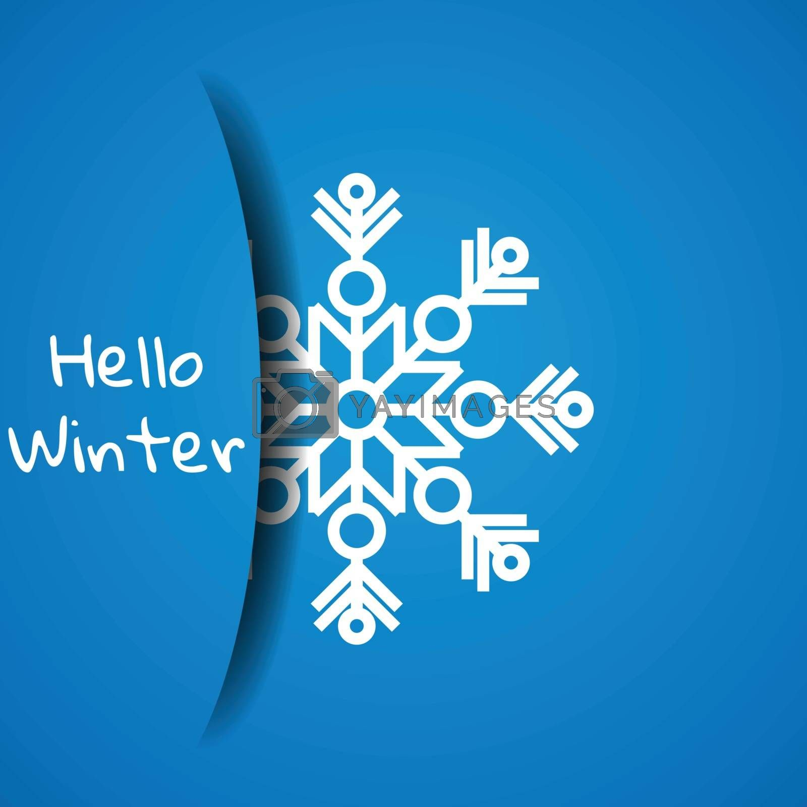 Concept hello winter. Greeting card template for design. Paper snowflake hidden in paper pocket by victosha
