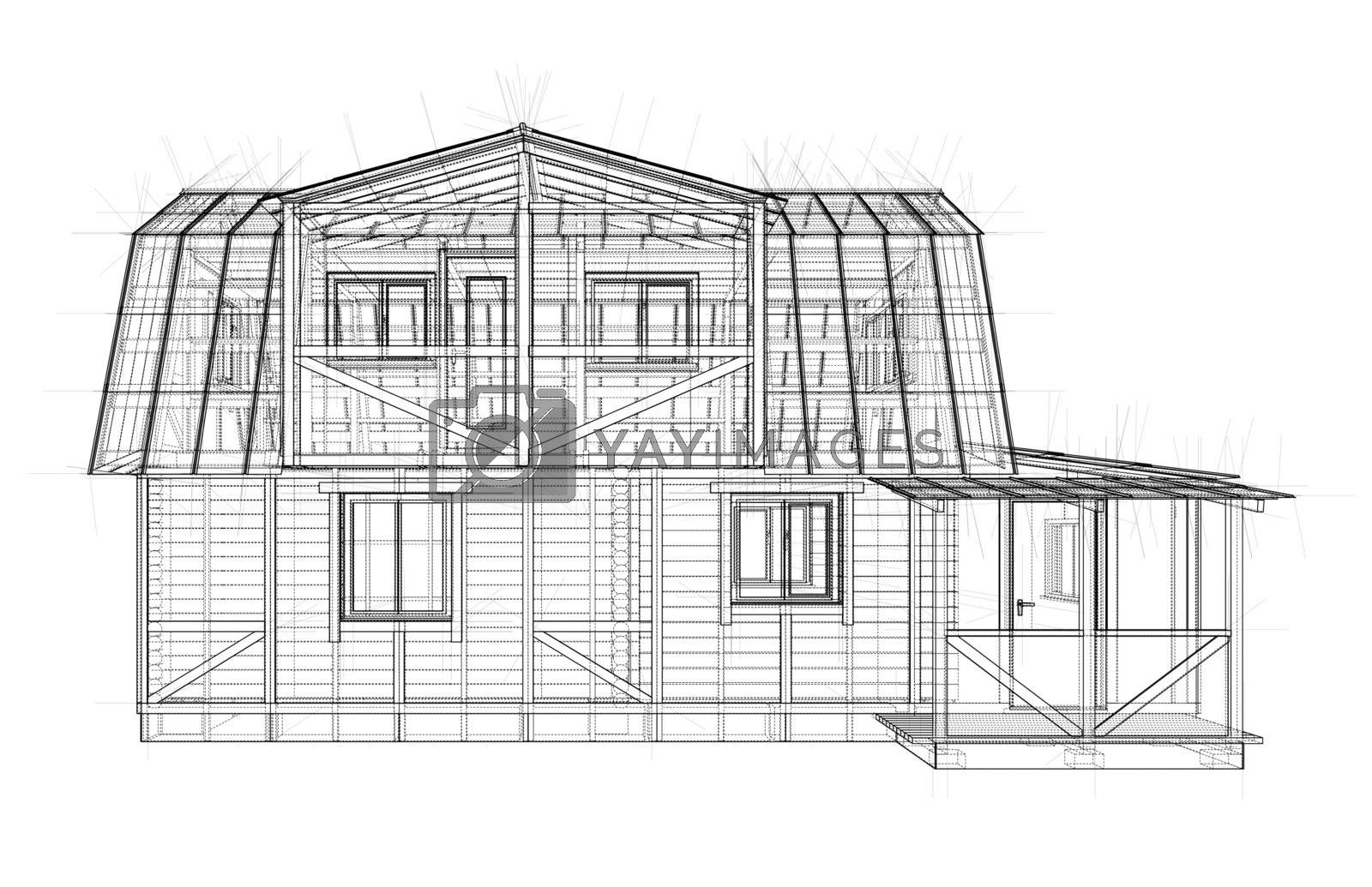 House sketch. Vector rendering of 3d by cherezoff