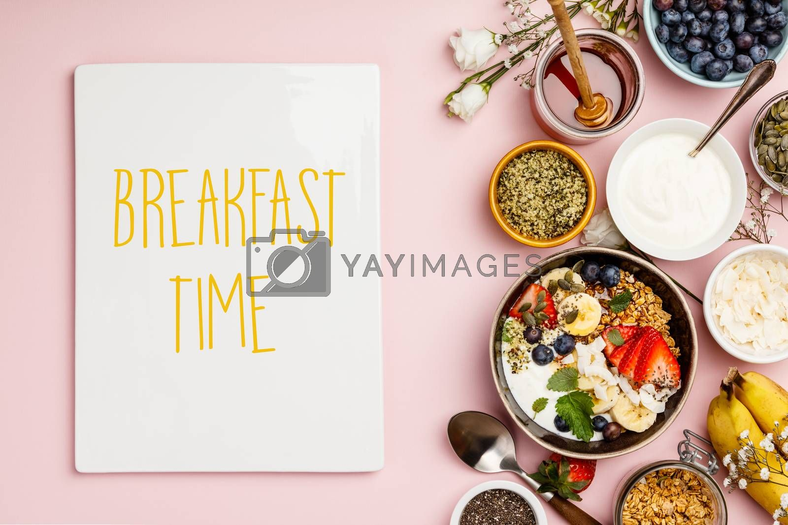 Healthy breakfast set with coffee and granola by klenova