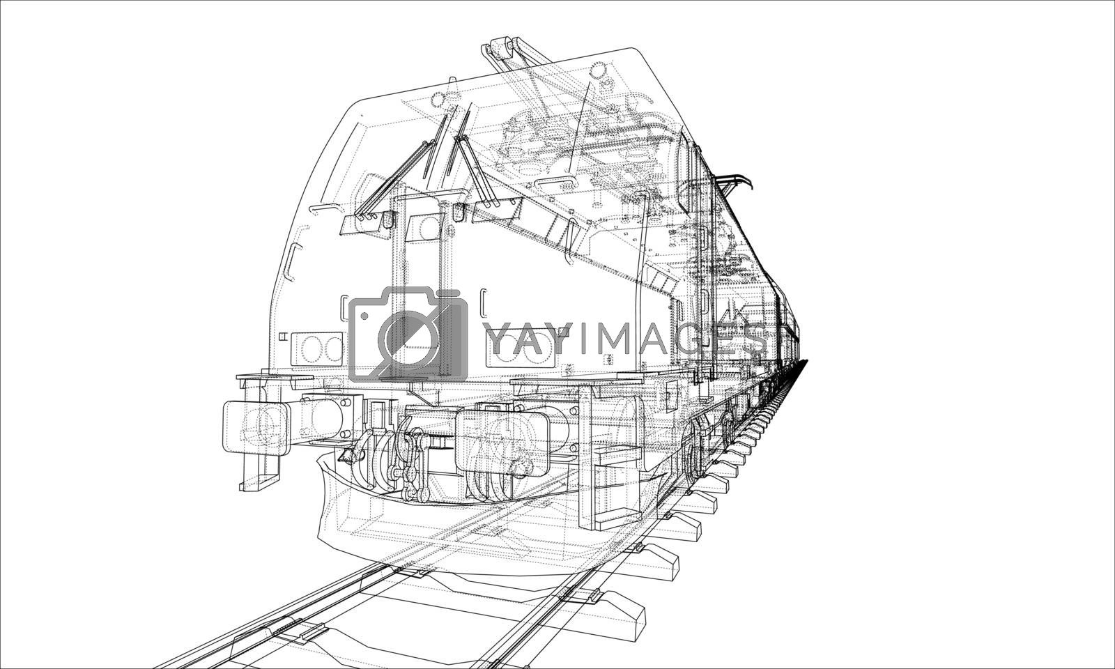 Modern train concept. Vector by cherezoff
