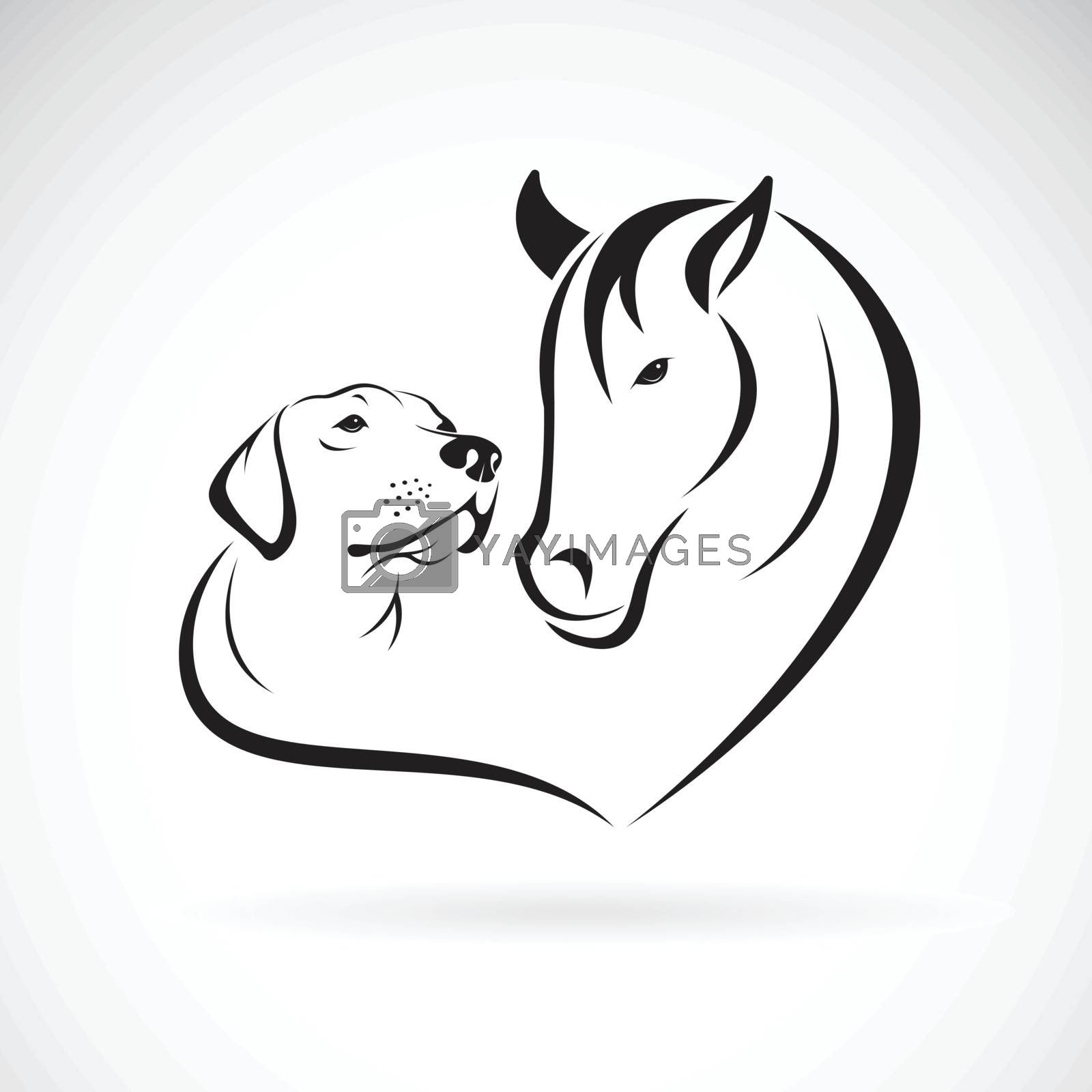 Vector of horse and dog(Labrador) on white background. Pet. Anim by yod67