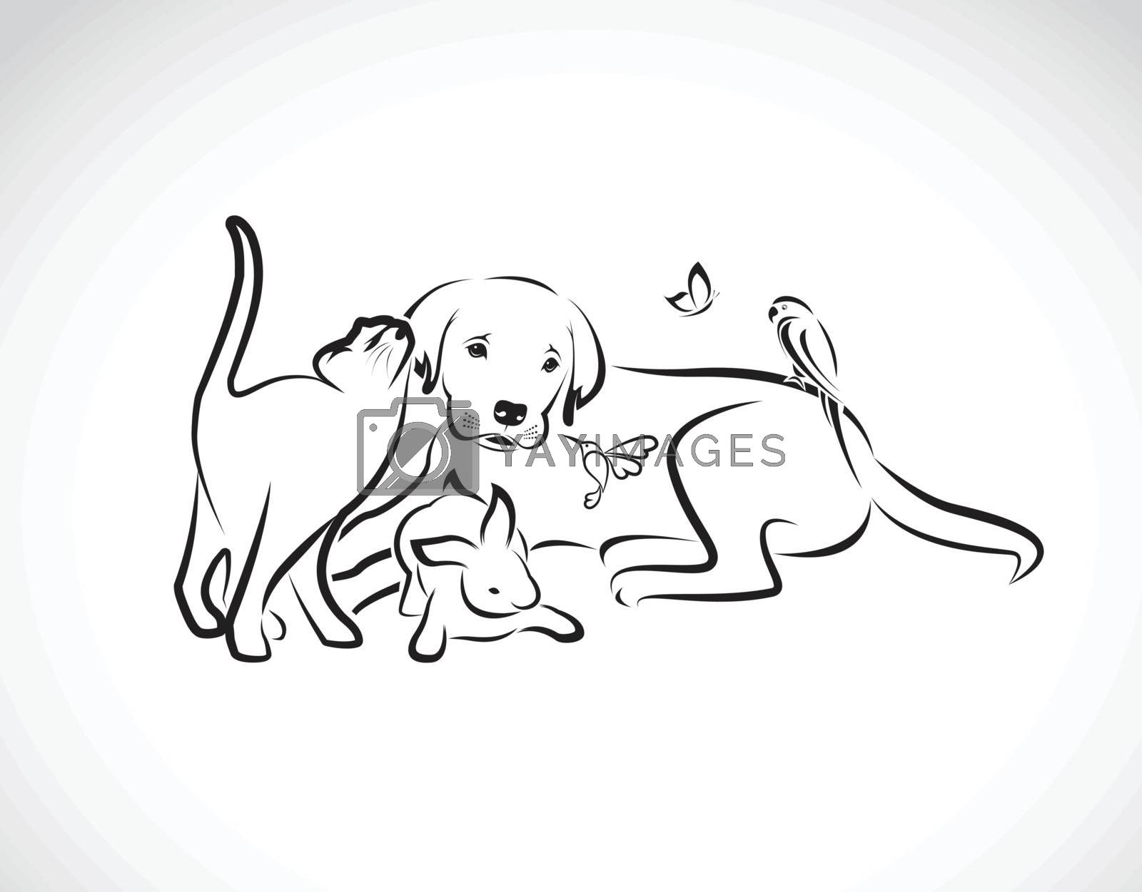 Vector group of pets - Dog, cat, parrot, rabbit, butterfly, Humm by yod67