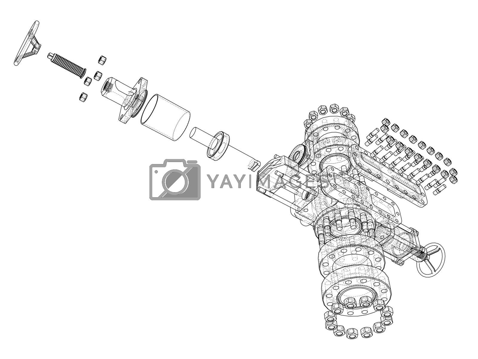 Blowout preventer. Vector rendering of 3d by cherezoff