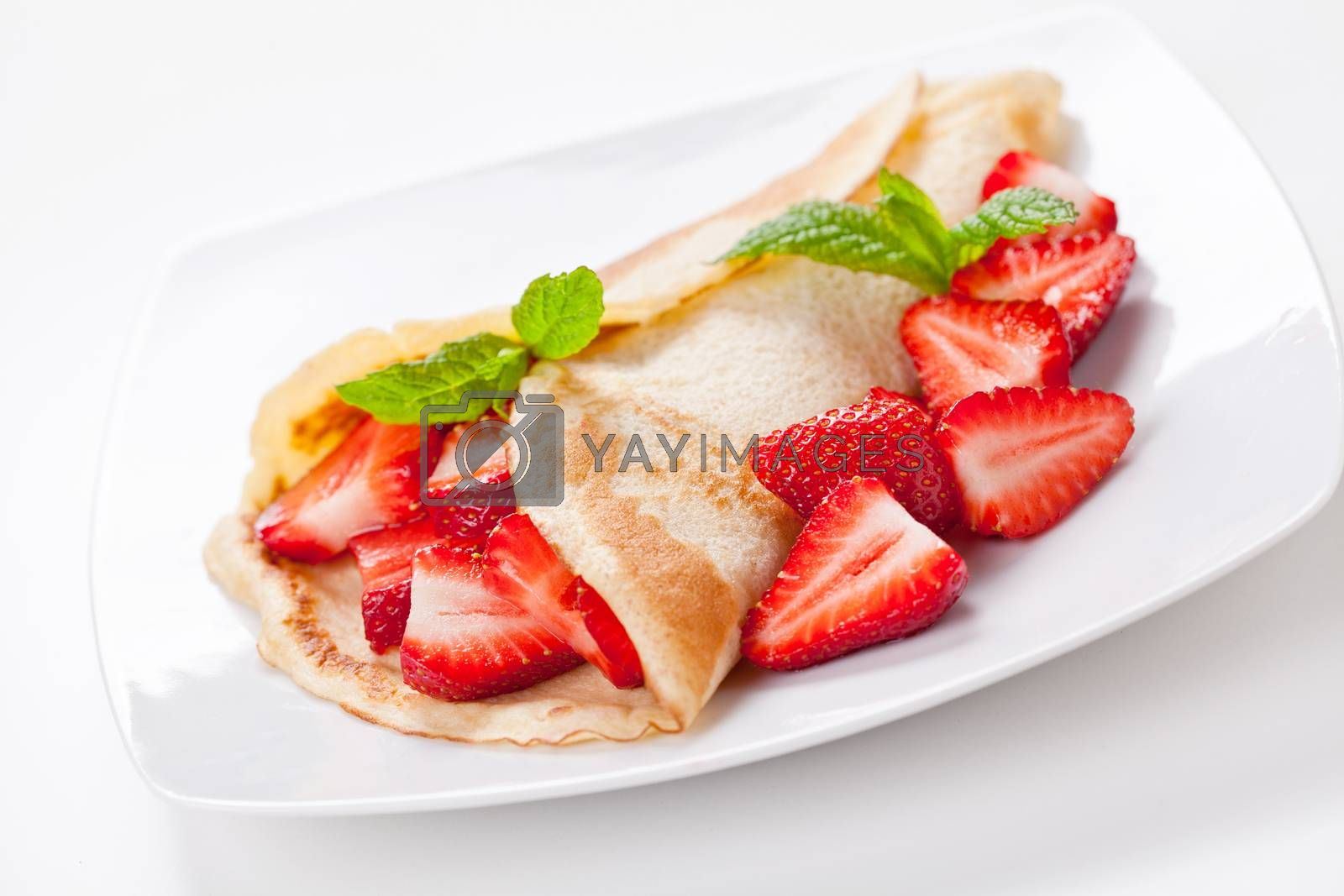 Crepe With Organic Strawberries by mpessaris