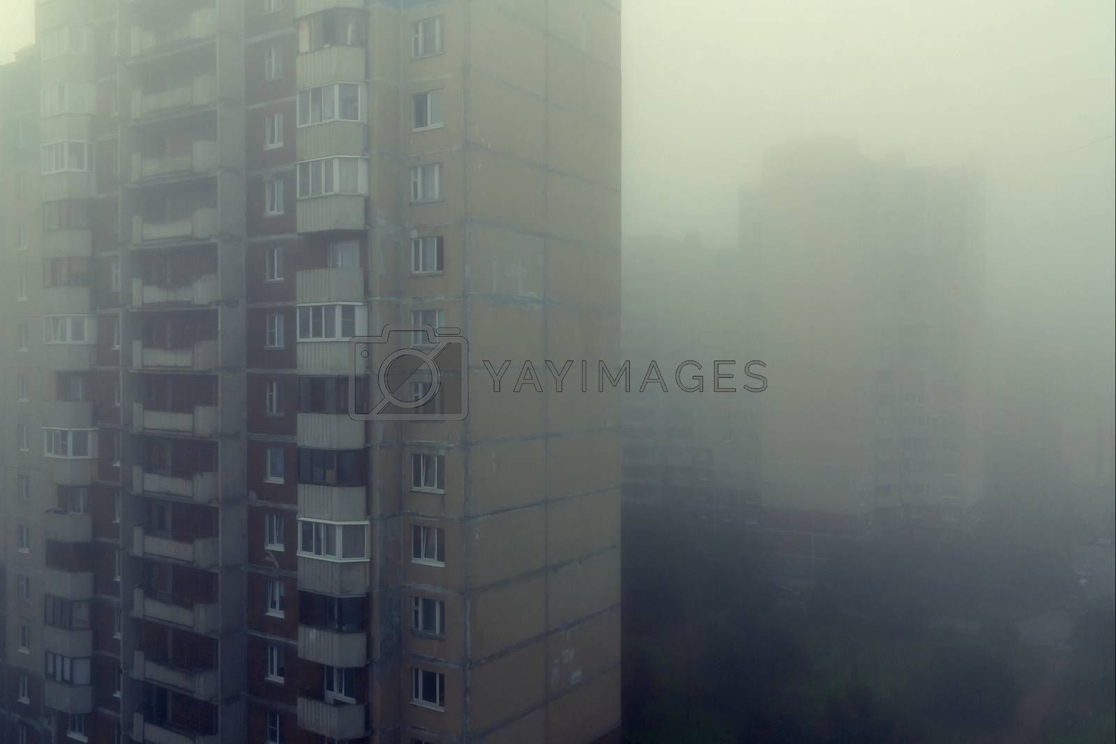 Heavy morning fog and evaporation in the city with high-rise buildings by galsand