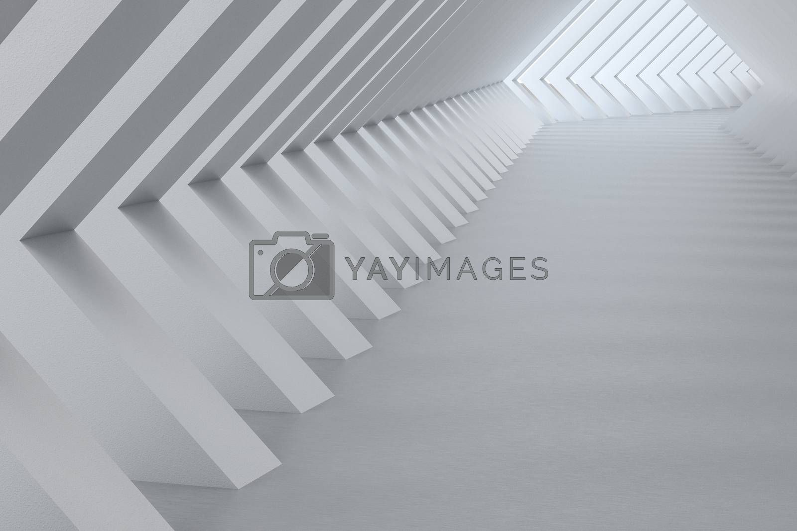 3d rendering, white interior building structure by vinkfan