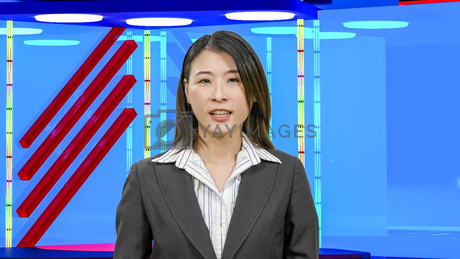 Female Asian News anchorwoman in virtual TV studio, original des by Images By Kenny
