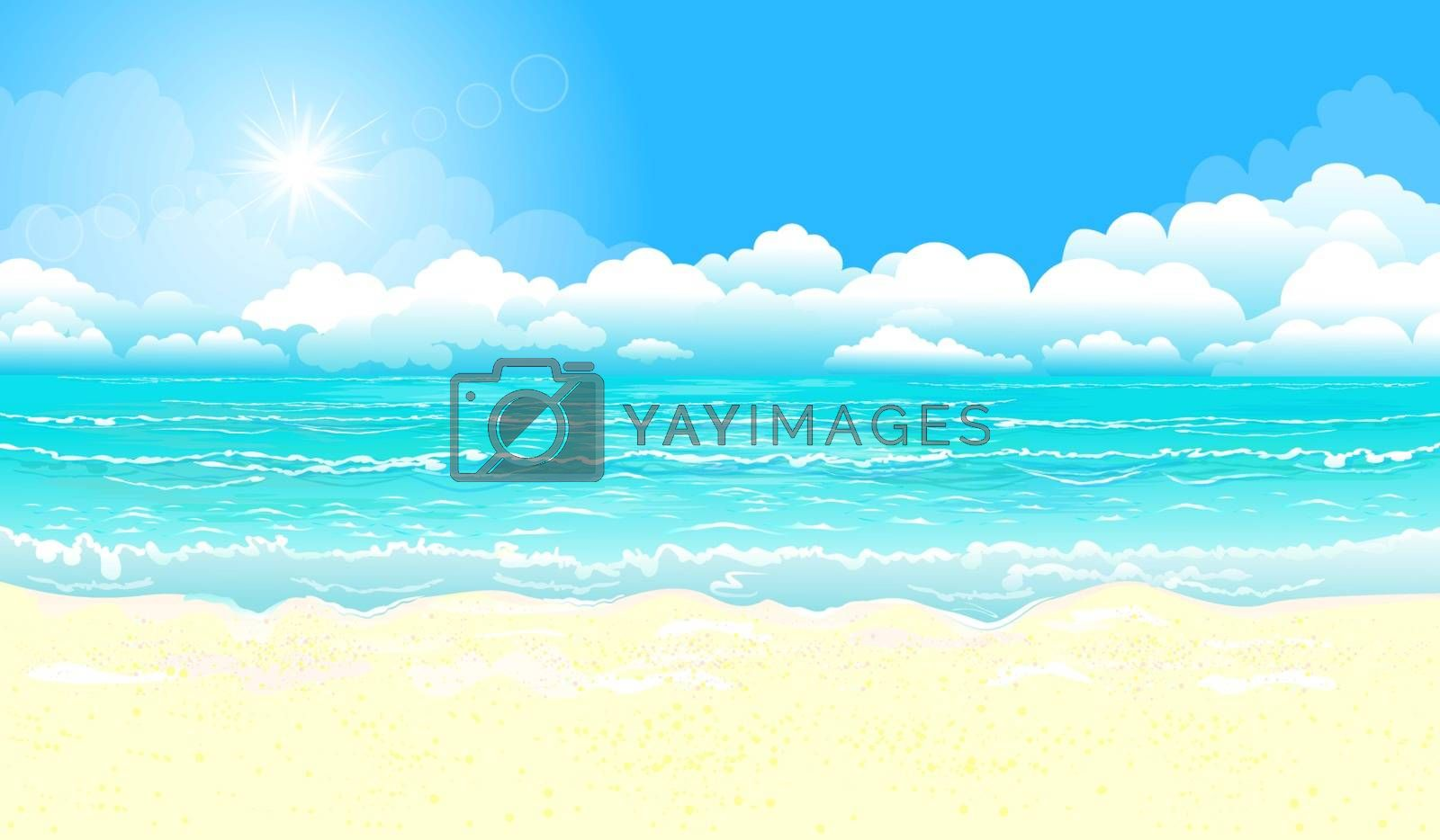 Landscape of the tropical coast. Sea shore landscape. Ocean, sky, sun and sand.