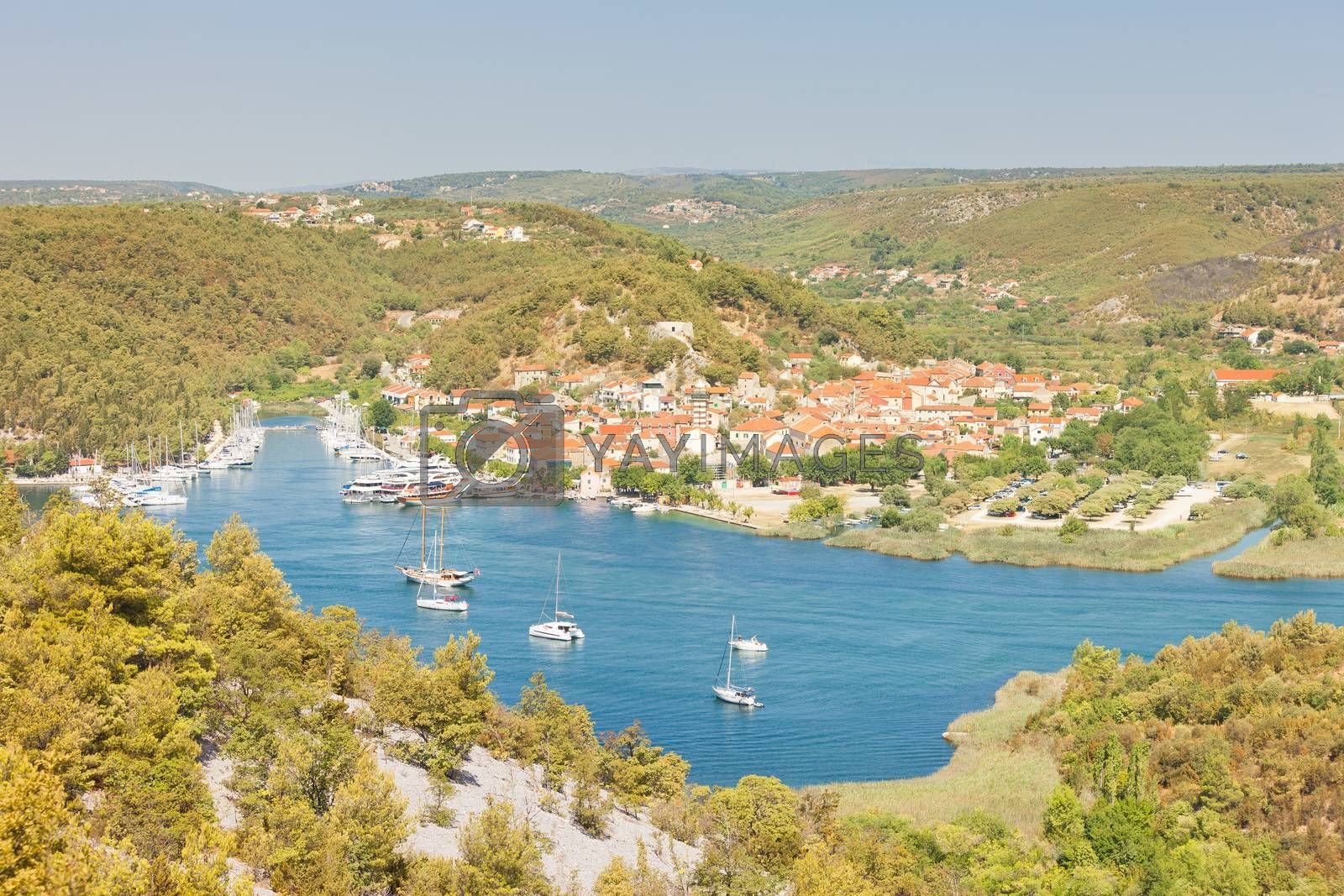 Skradin, Croatia, Europe - Aerial view upon the old town of Skradin