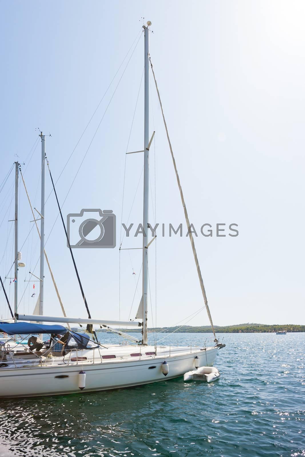 Sibenik, Croatia, Europe - Sailing boats at the harbor of Sibenik