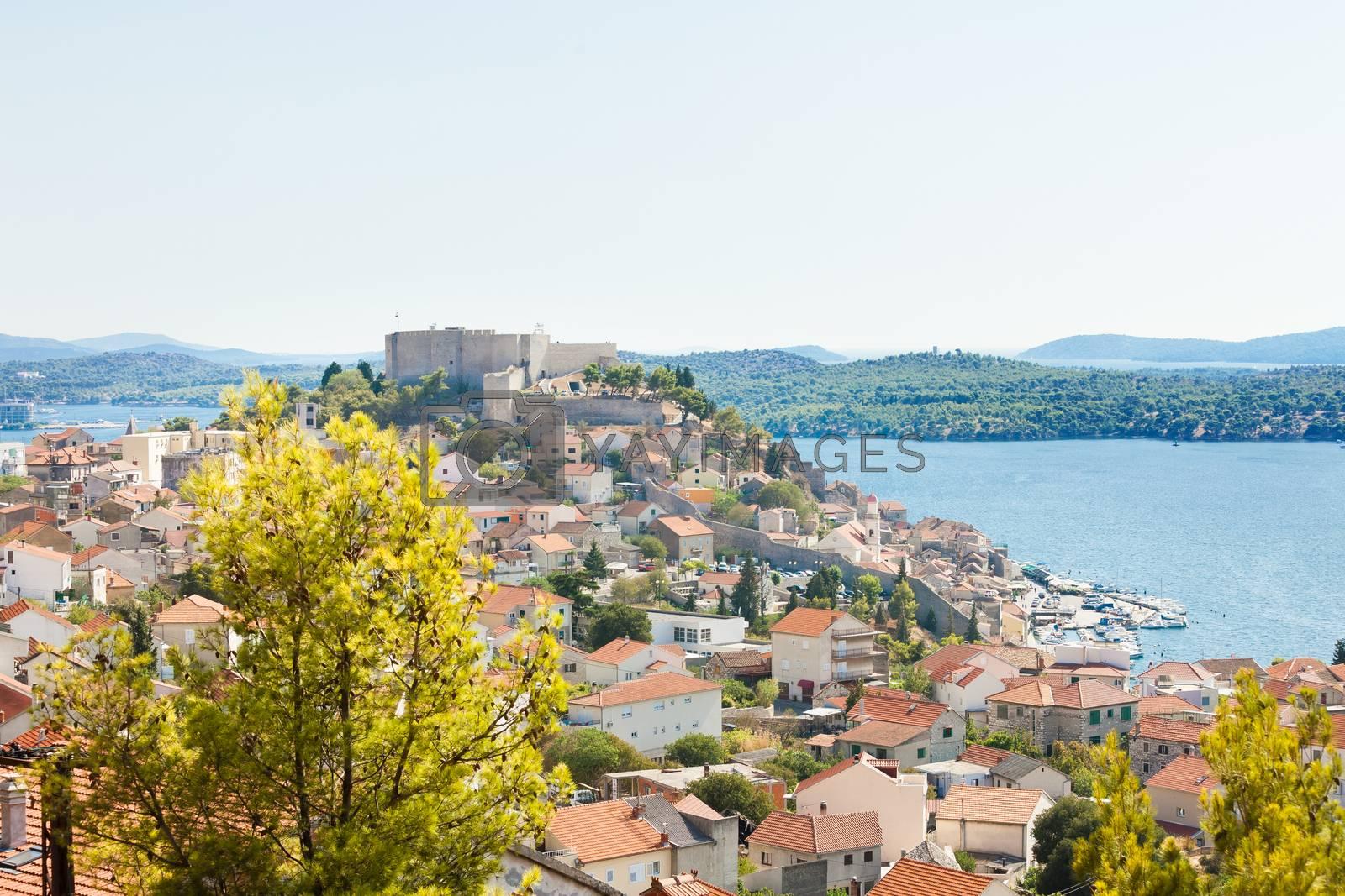 Sibenik, Croatia, Europe - Aerial view upon the old town of Sibenik