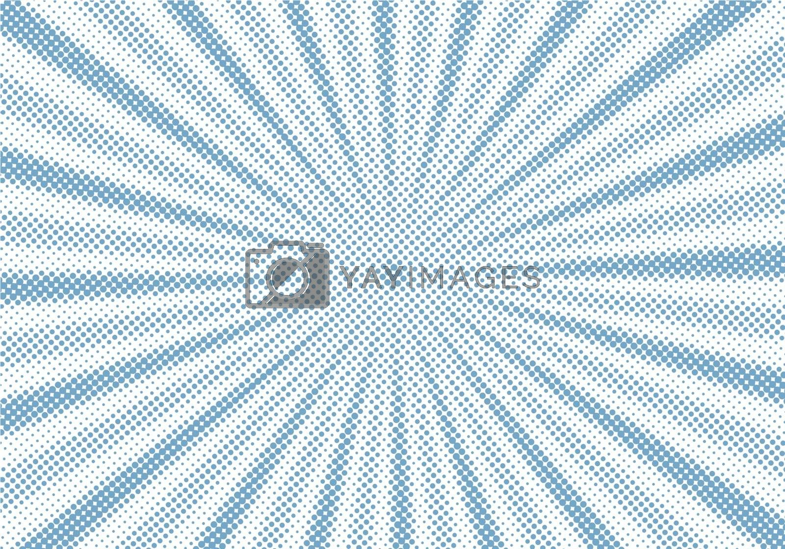Retro blue sunburst and rays comic cartoon halftone style background. Abstract vintage grunge with sunlight. Vector illustration