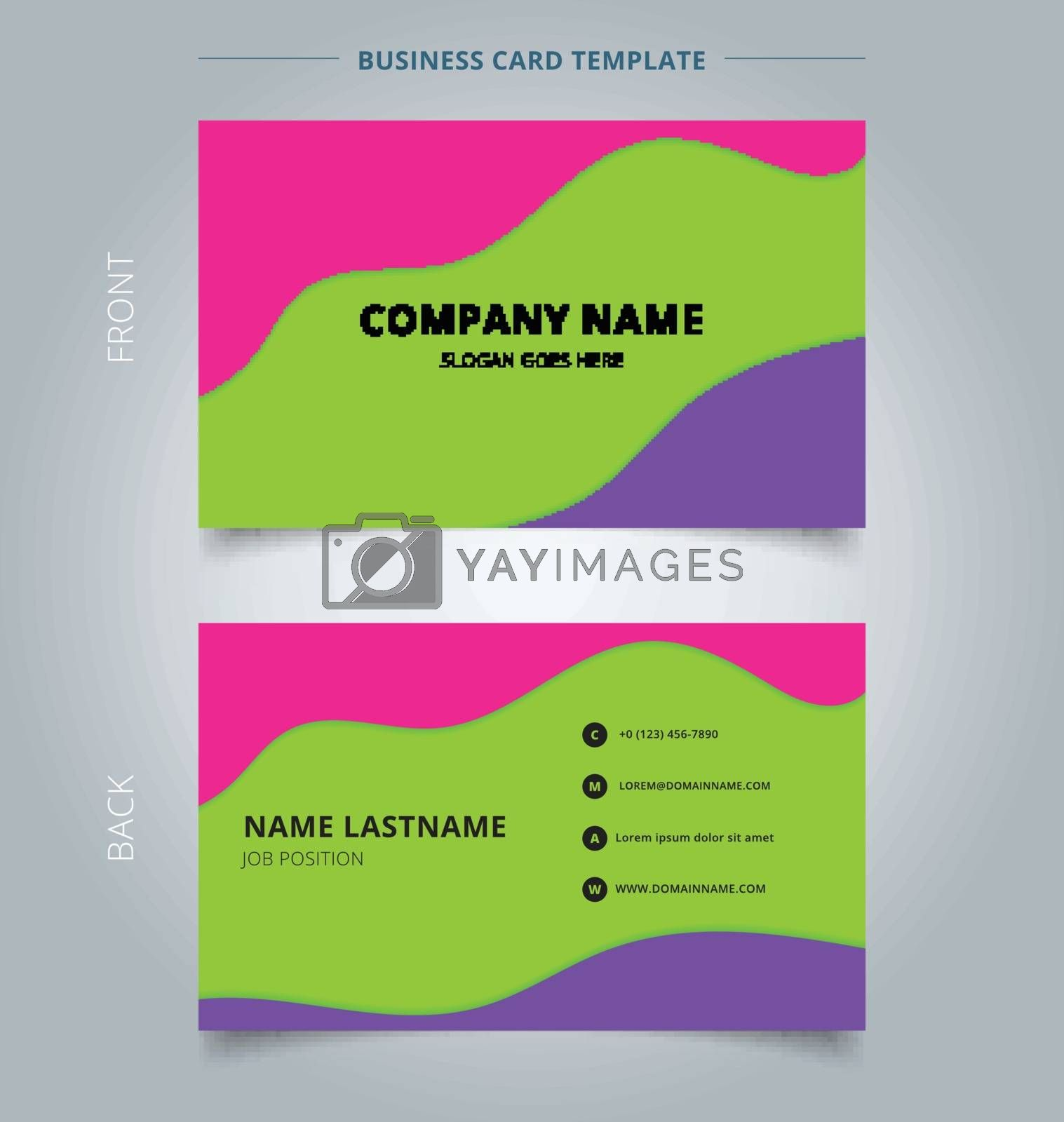Trendy abstract business name card template layout modern style. Fluid or liquid wave layer green, purple and pink , vivid color. Vector illustration