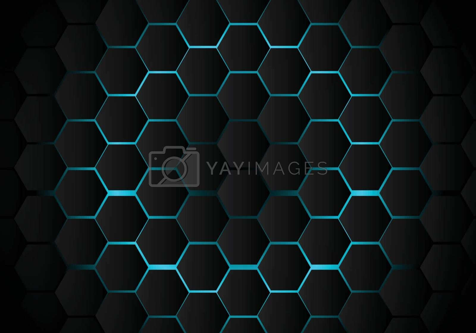 Abstract black hexagon pattern on light blue background technology style. Honeycomb. Vector illustration