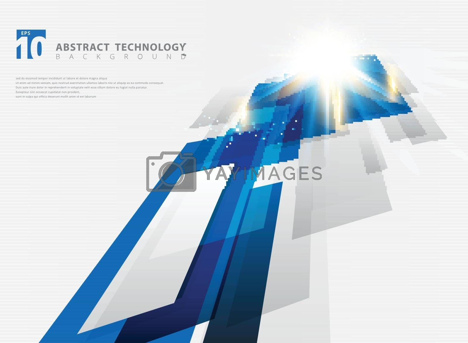 Abstract perspective technology geometric blue color shiny motion background and lines texture with lighting burst effect. You can use for brochure, print, ad, magazine, poster, website, magazine, leaflet, annual report. Vector corporate design